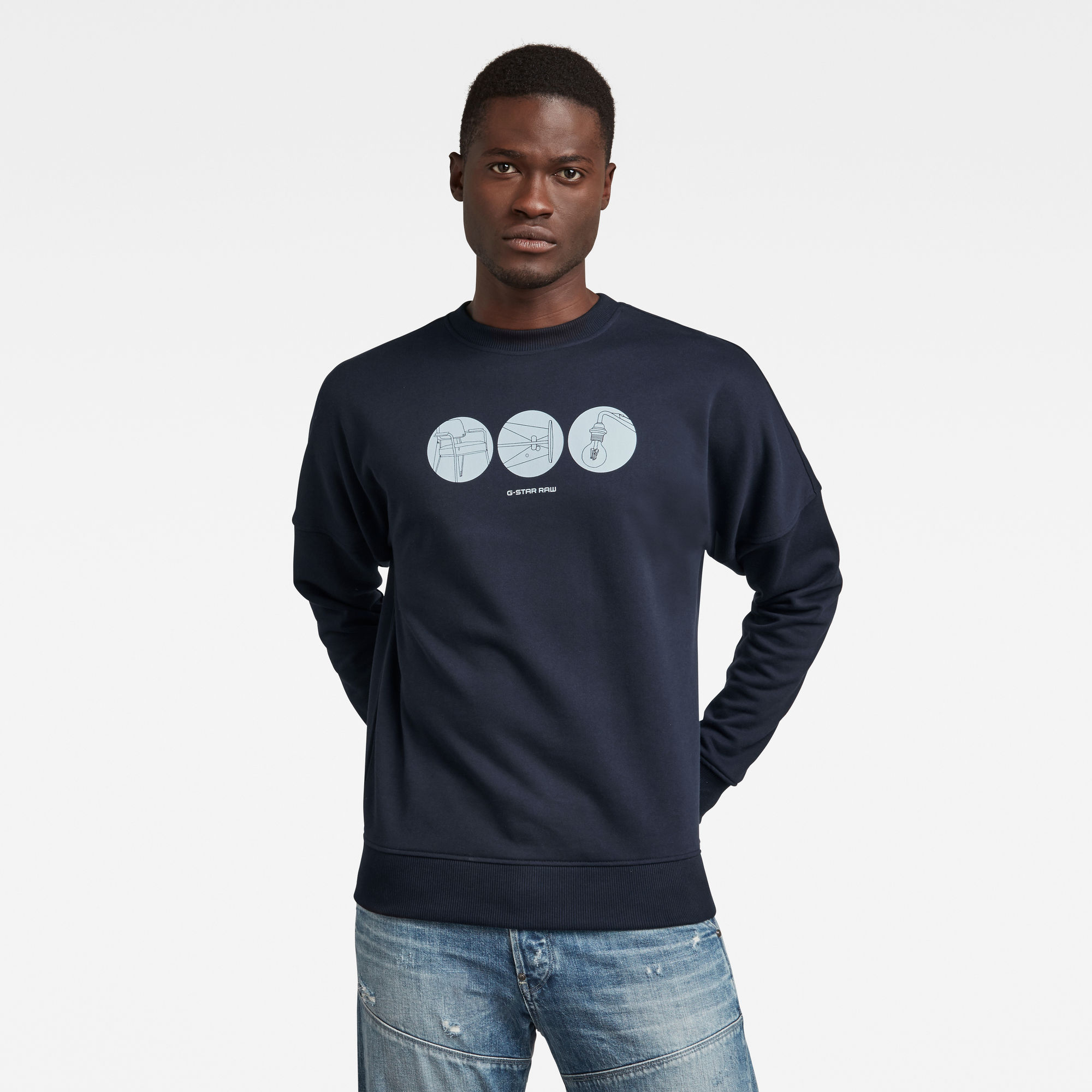 G-Star RAW Heren Dropped Shoulder Objects Graphic Sweater Donkerblauw