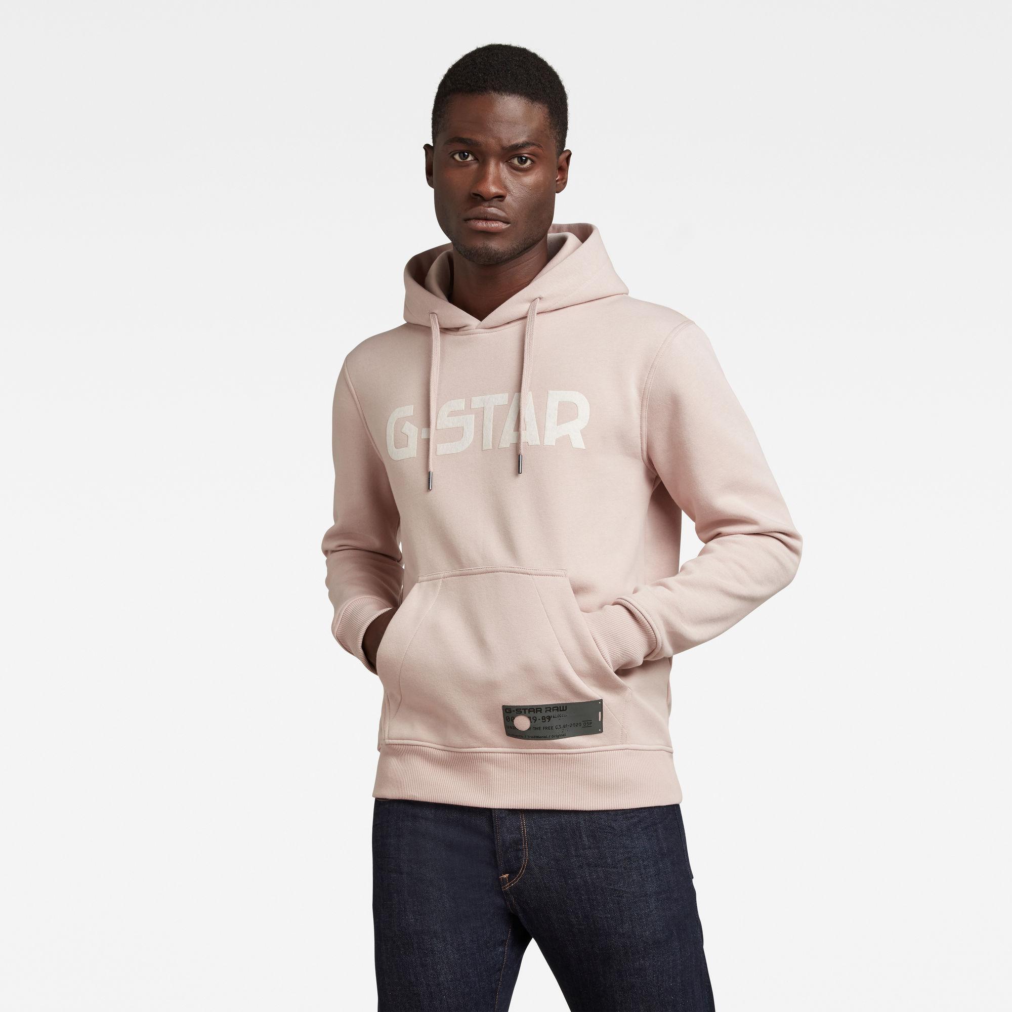G-Star RAW Heren G-Star Hooded Sweater Roze