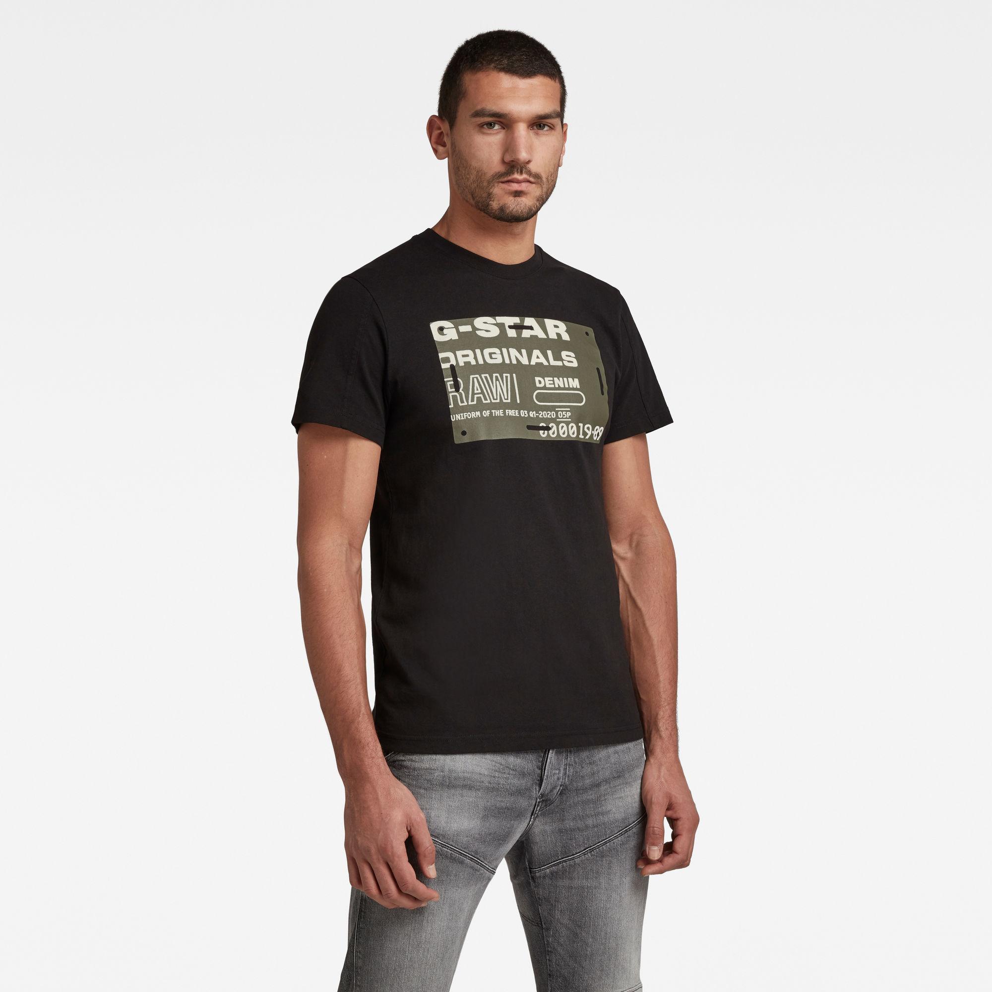 G-Star RAW Heren Flock Badge Graphic T-Shirt Zwart