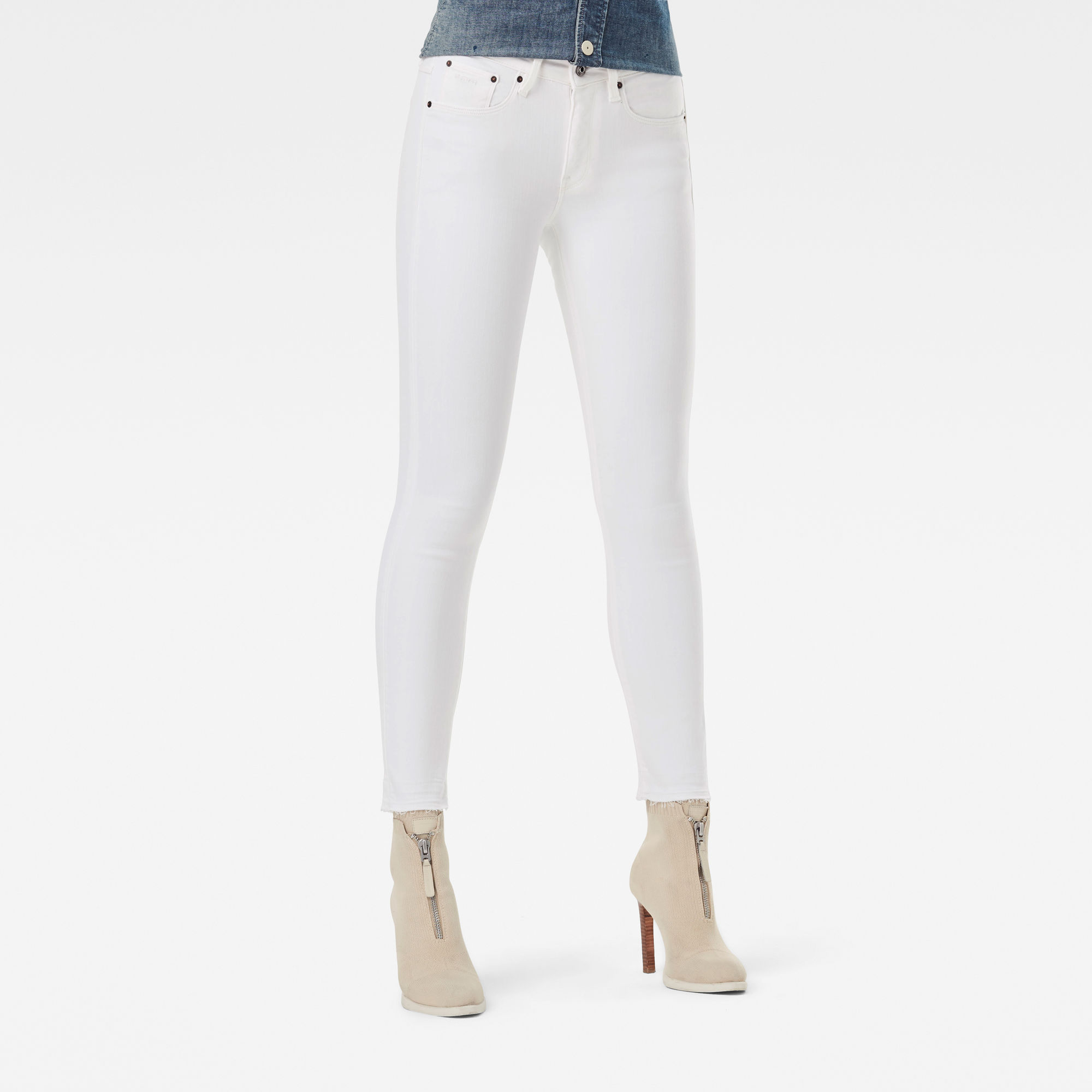 3301 Mid Skinny Ripped Edge Ankle Jeans Wit