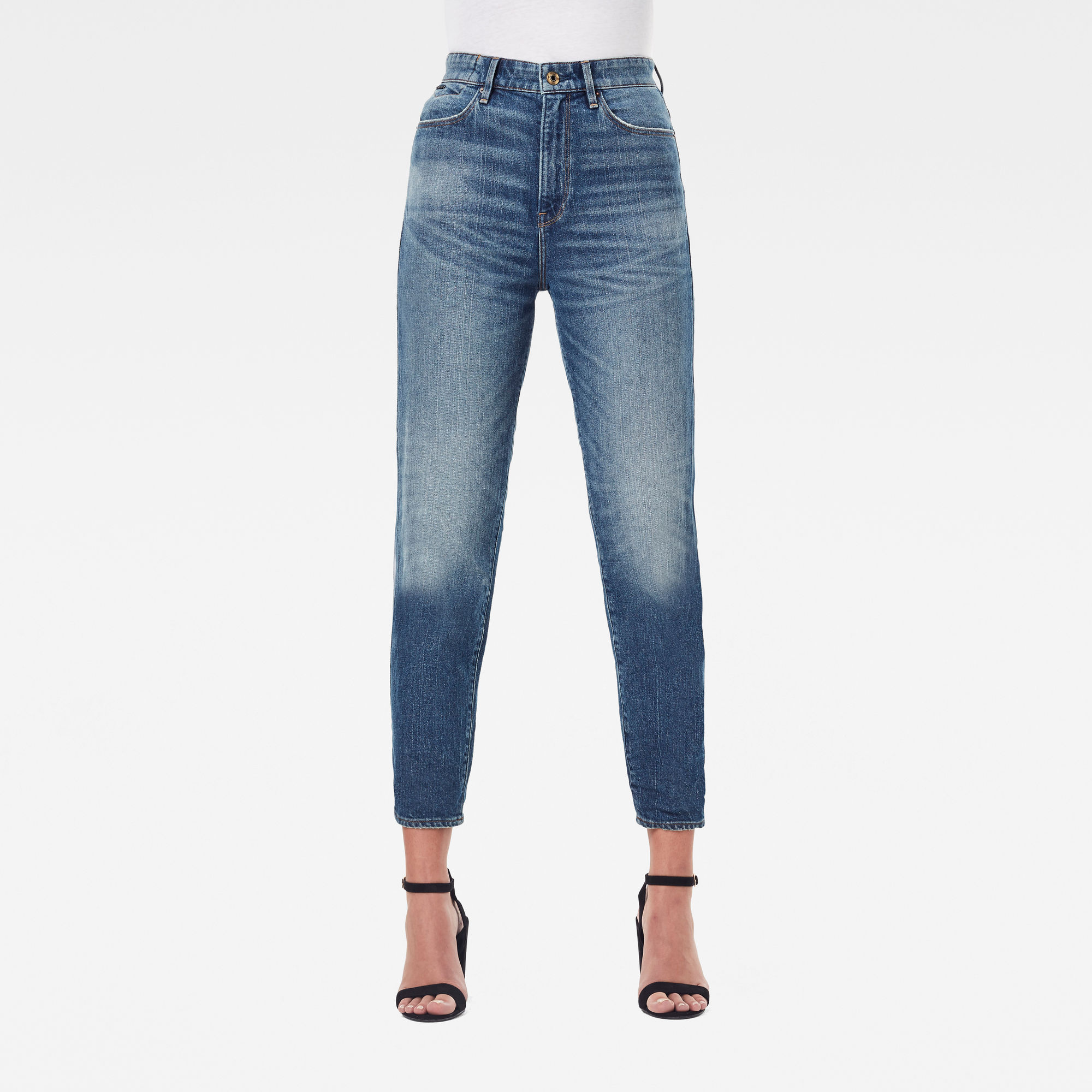 G-Star RAW Dames Janeh Ultra High Mom Ankle Jeans Blauw