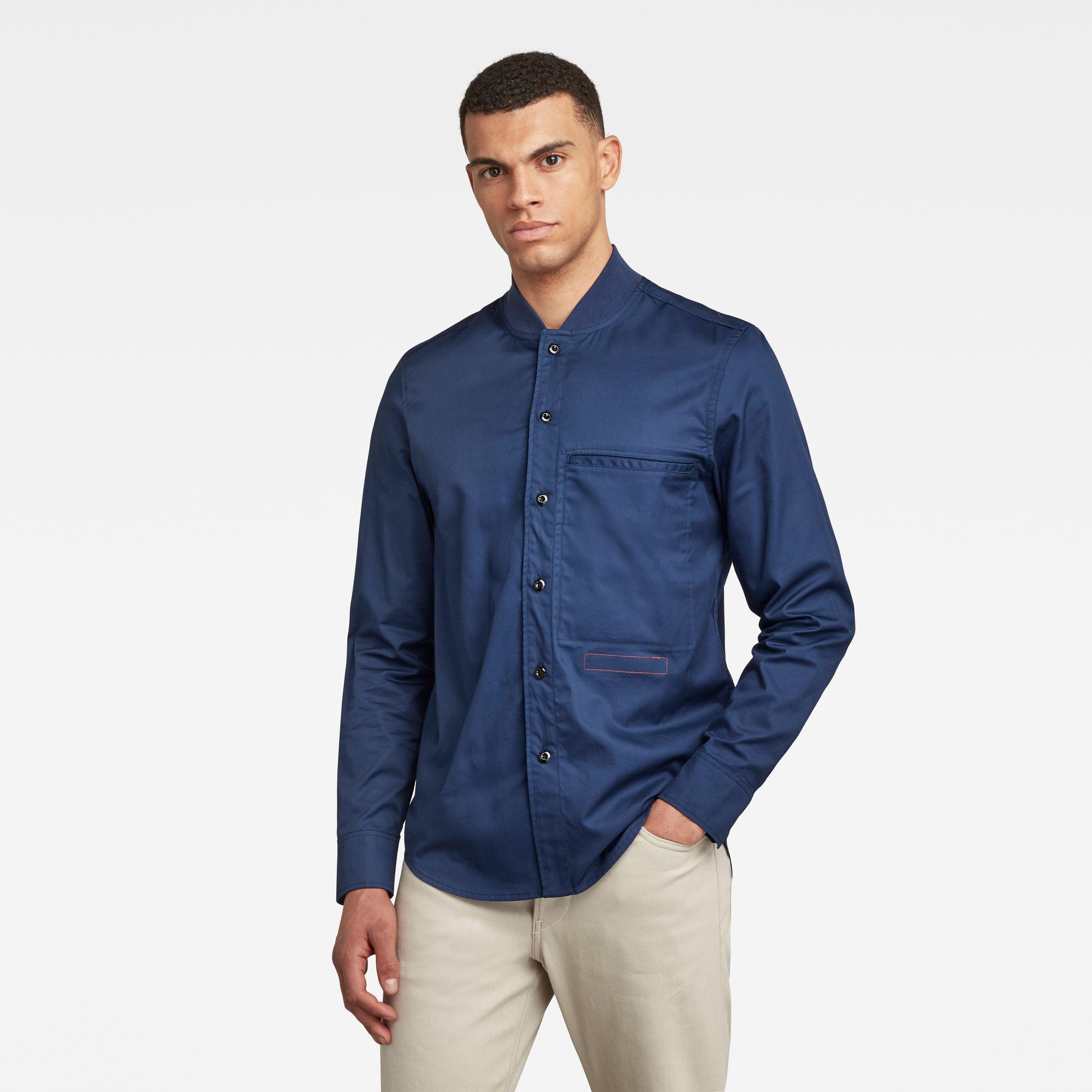 G-Star RAW Heren Bomber Collar Regular Shirt Donkerblauw