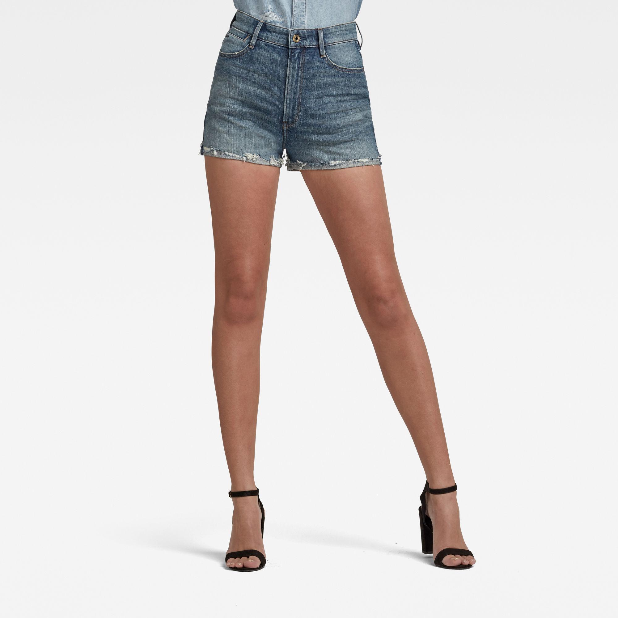 G-Star RAW Dames Tedie Ripped Edge Ultra High Shorts Blauw