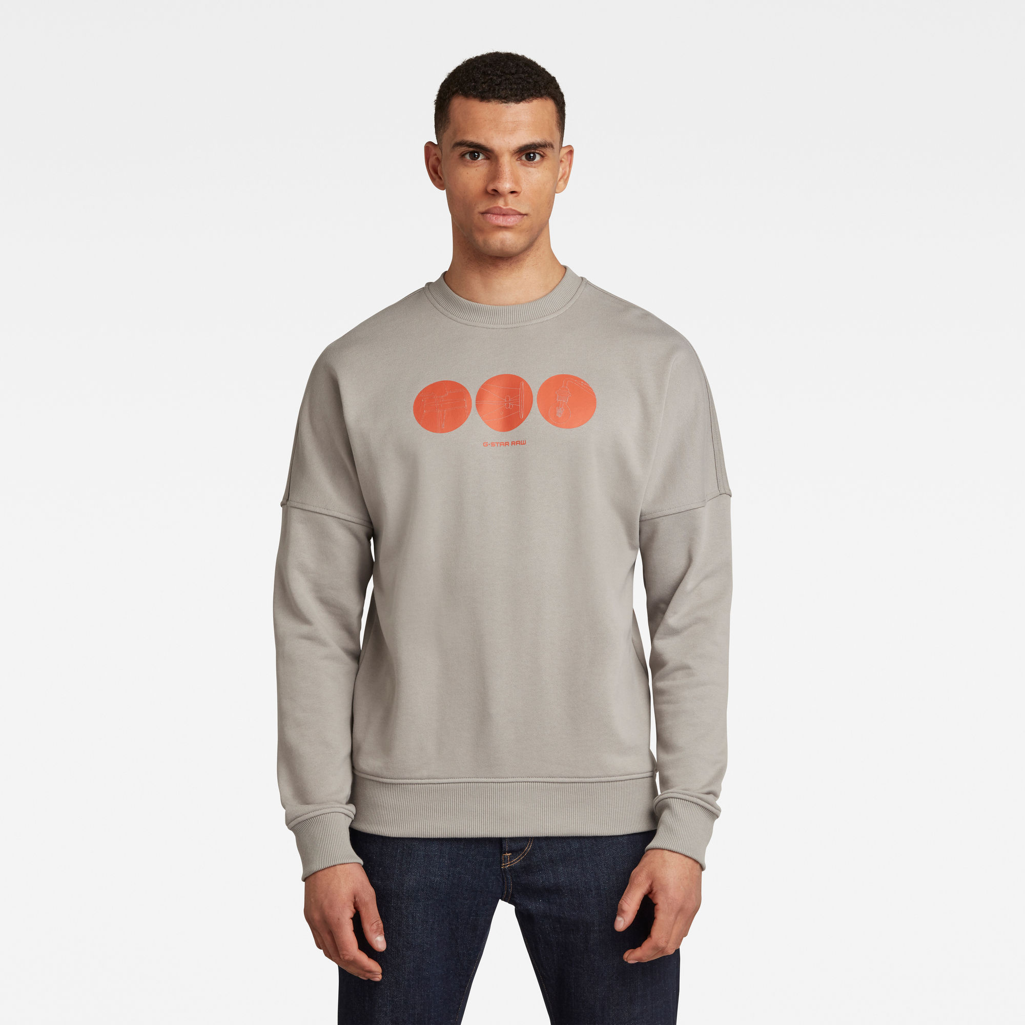 G-Star RAW Heren Dropped Shoulder Objects Graphic Sweater Grijs