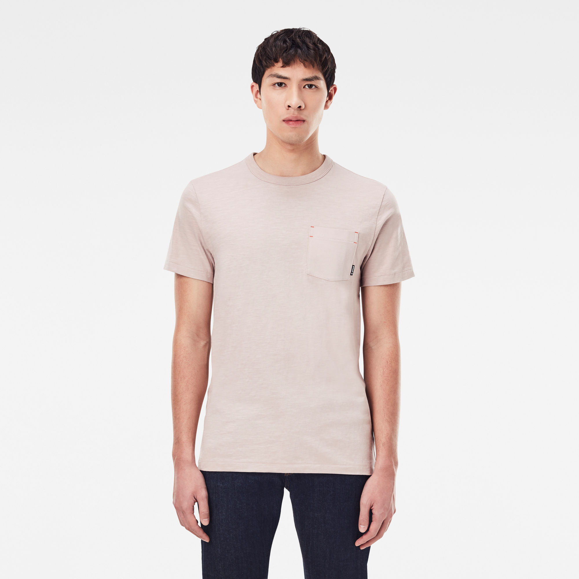 G-Star RAW Heren Contrast Mercerized Pocket T-Shirt Roze