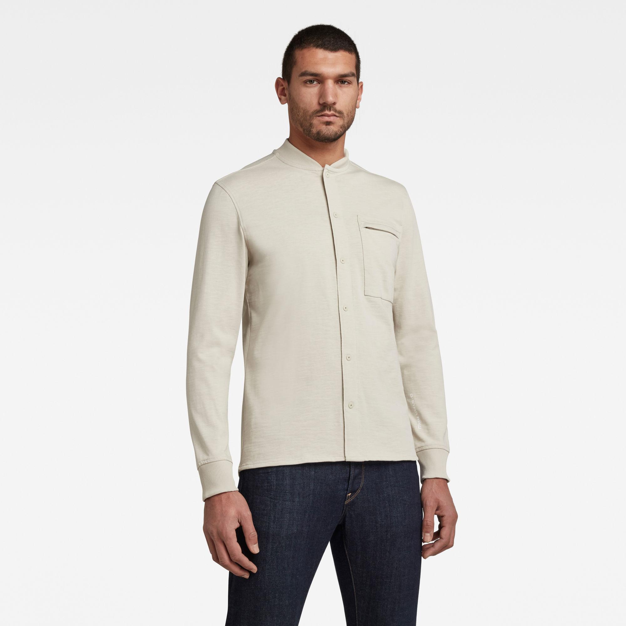 G-Star RAW Heren Baseball Jersey Zip Pocket T-Shirt Beige