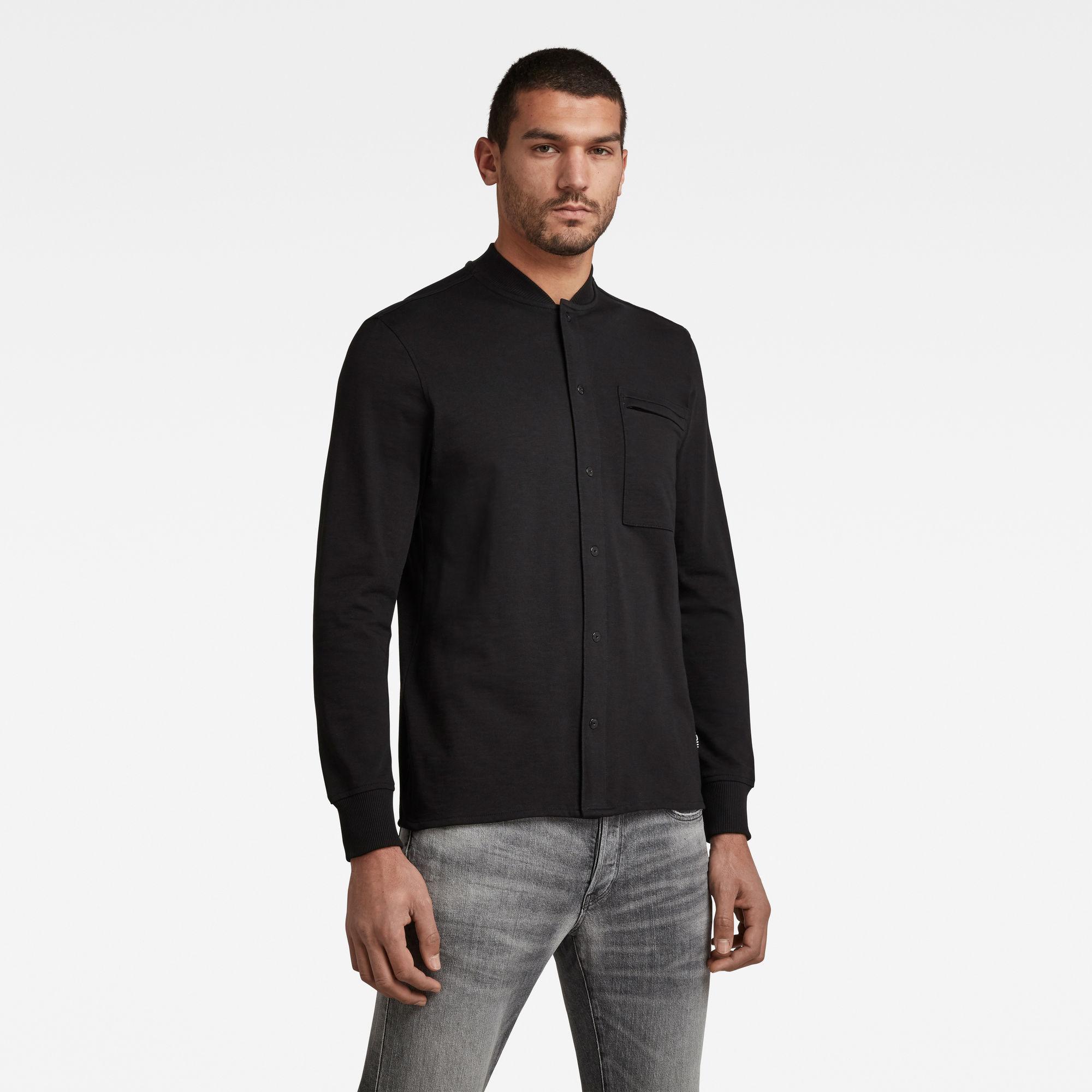 G-Star RAW Heren Baseball Jersey Zip Pocket T-Shirt Zwart