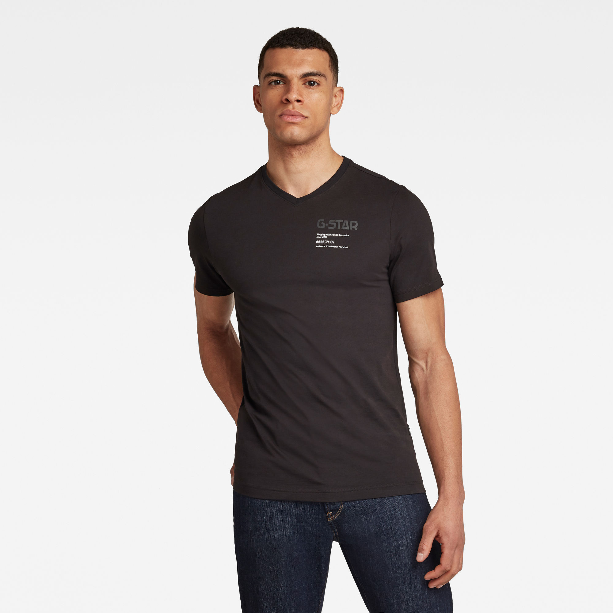 G-Star RAW Heren G-Star Chest Graphic T-Shirt Zwart