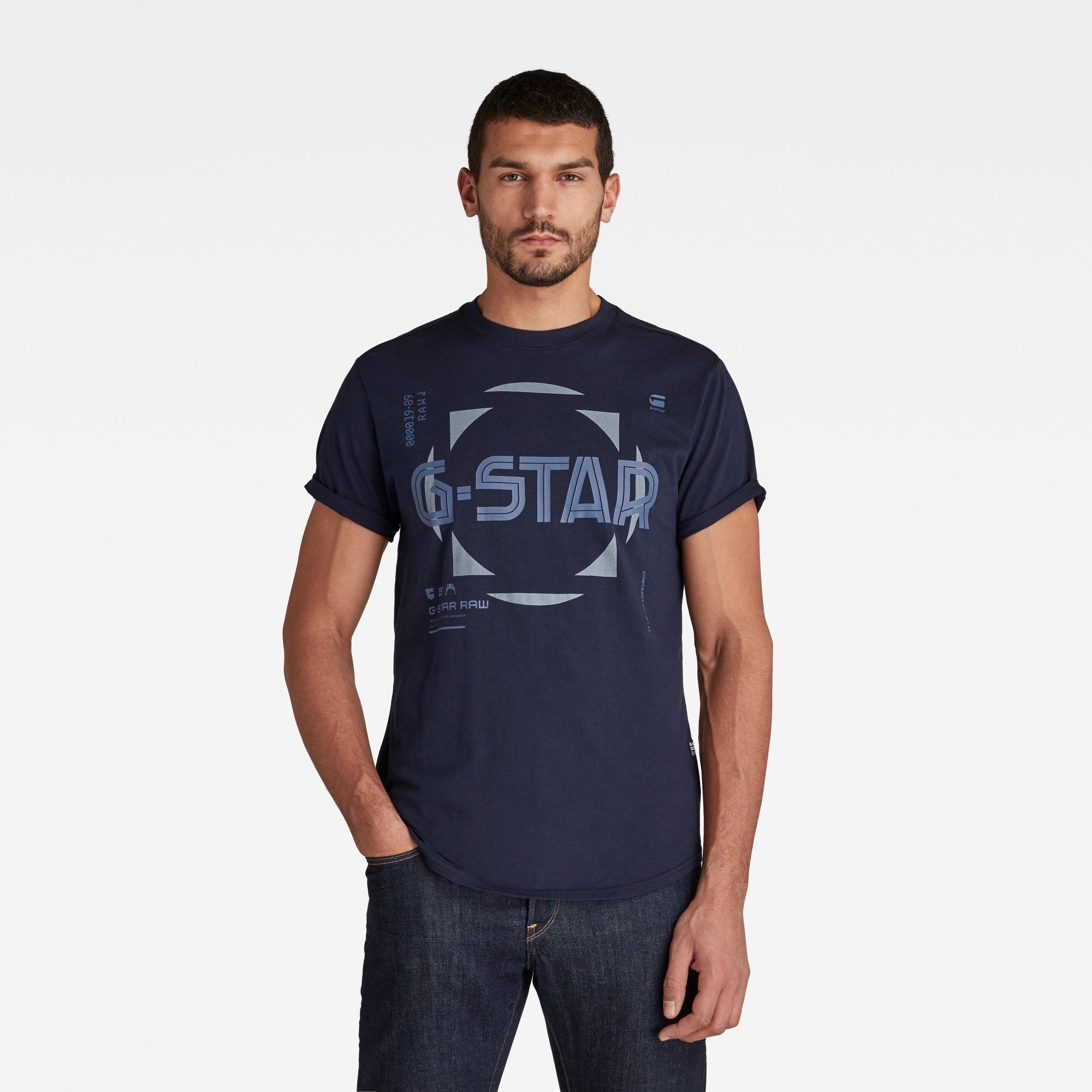 G-Star RAW Heren Lash Graphic T-Shirt Donkerblauw