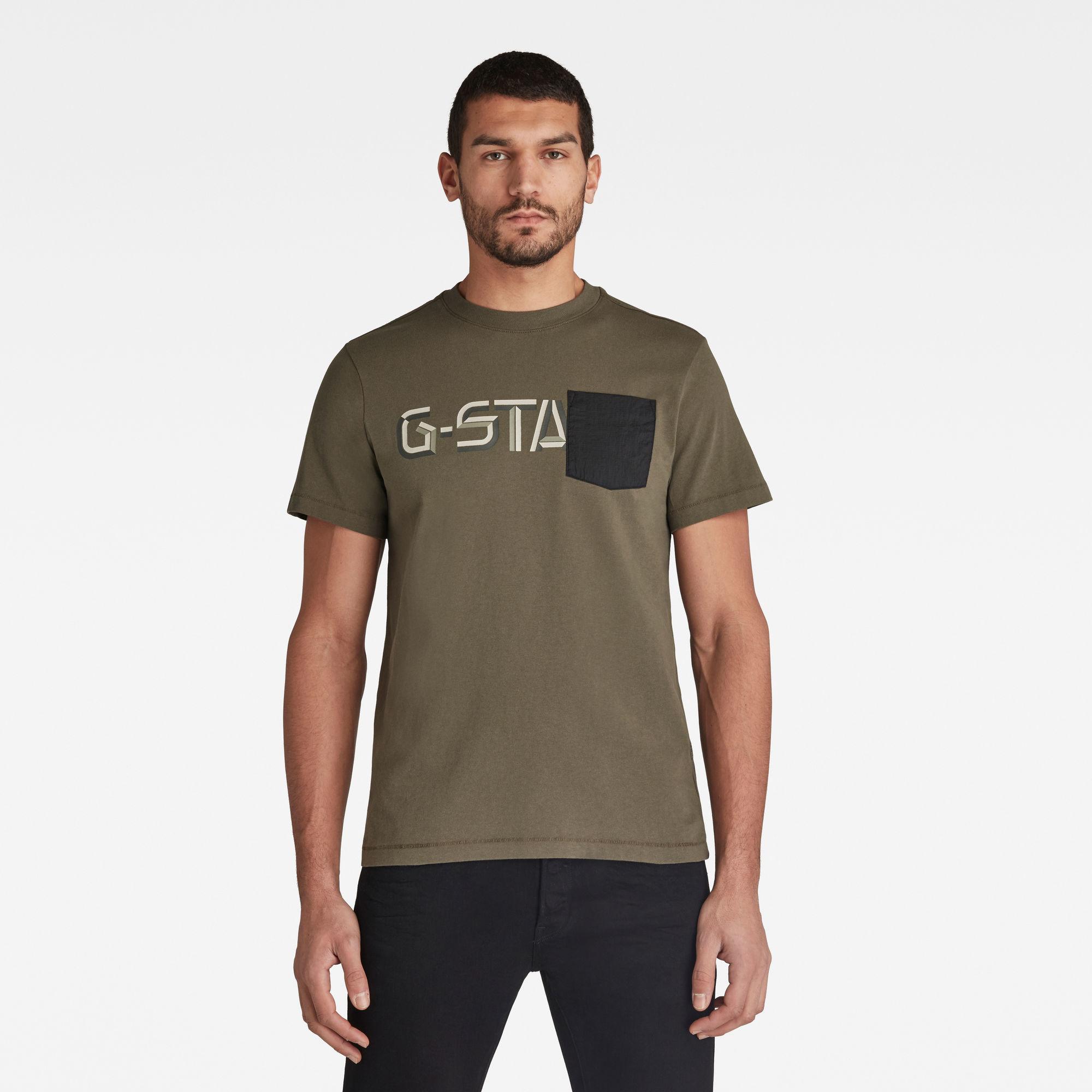 G-Star RAW Heren Ripstop Pocket Graphic T-Shirt Groen