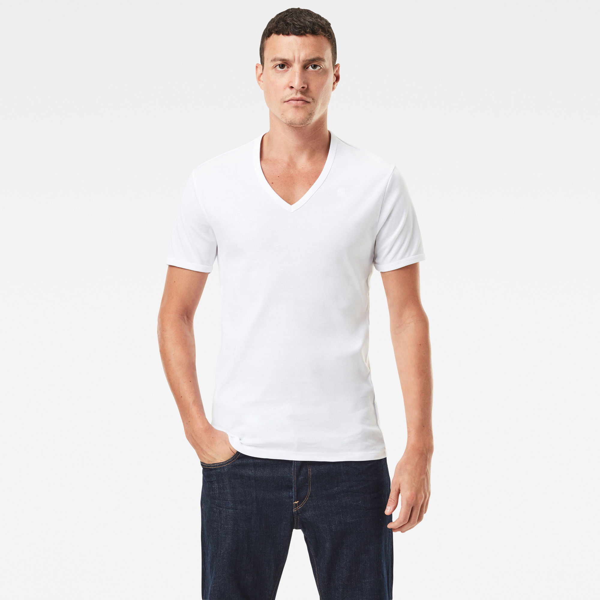 G-Star RAW Heren Basic V-Neck T-Shirt 2-Pack Wit