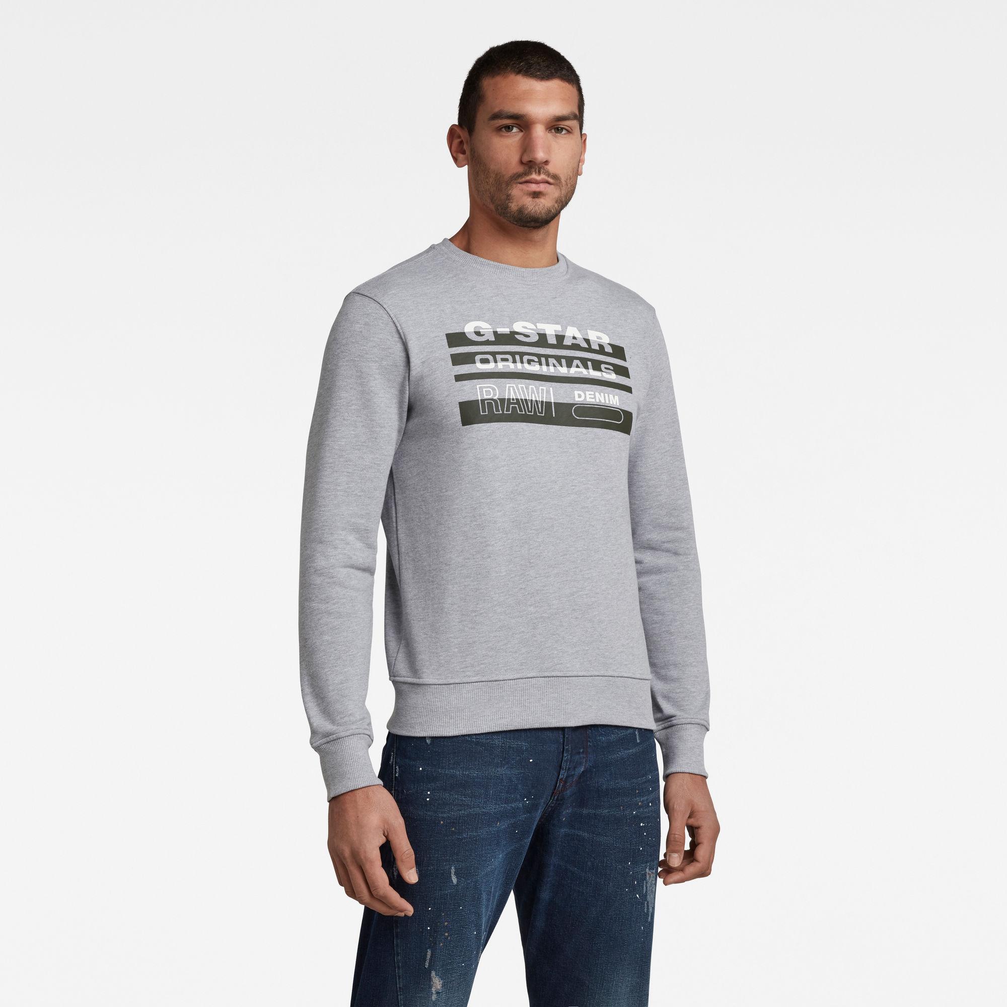 G-Star RAW Heren Originals Sweater Grijs