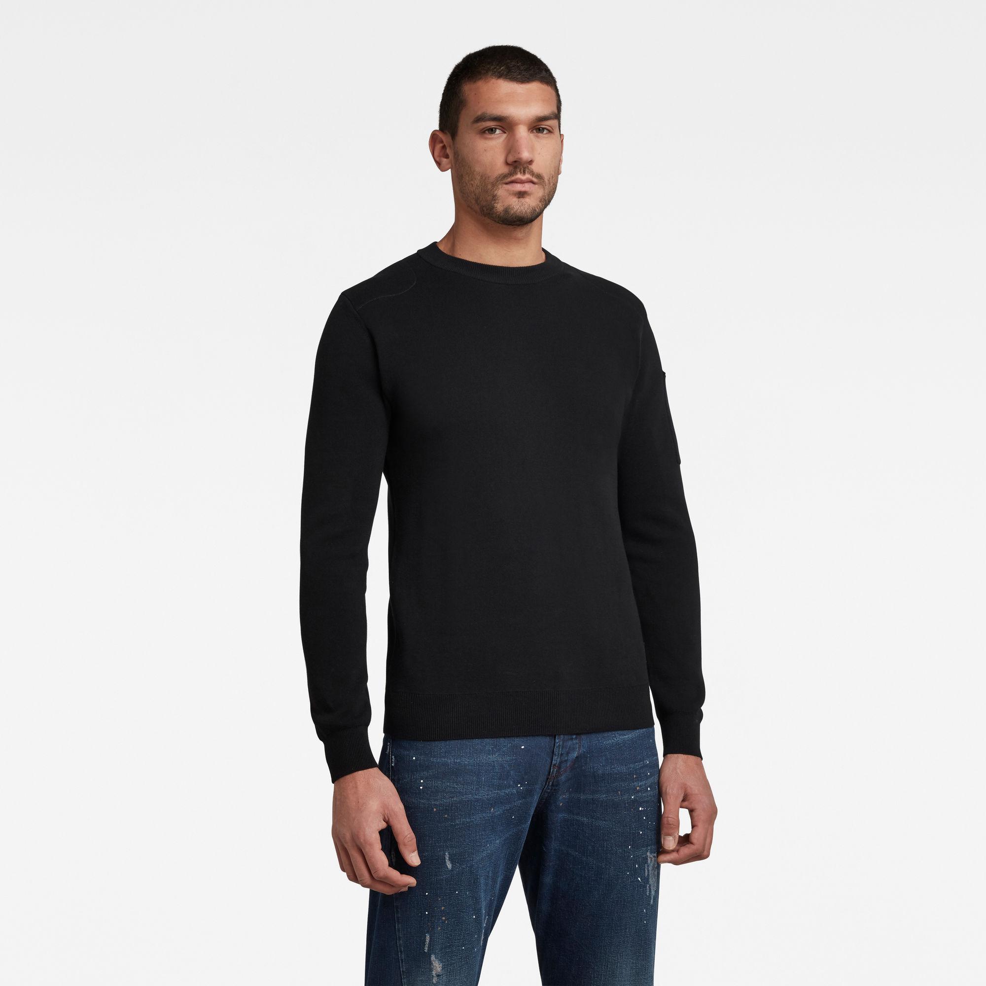 G-Star RAW Heren Sleeve Pocket Knitted Sweater Zwart