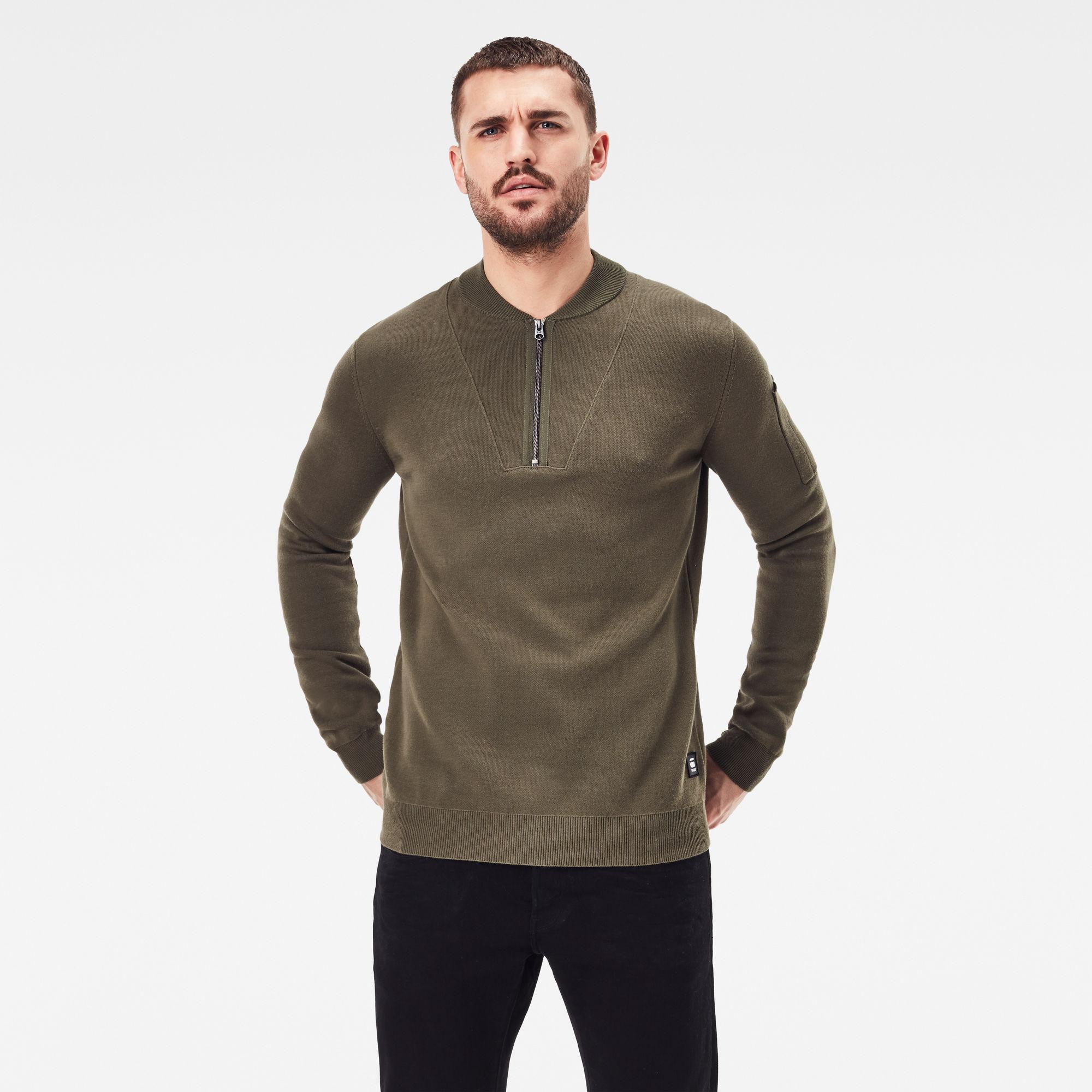 G-Star RAW Heren Sleeve Pocket Half Zip knitted Sweater Groen