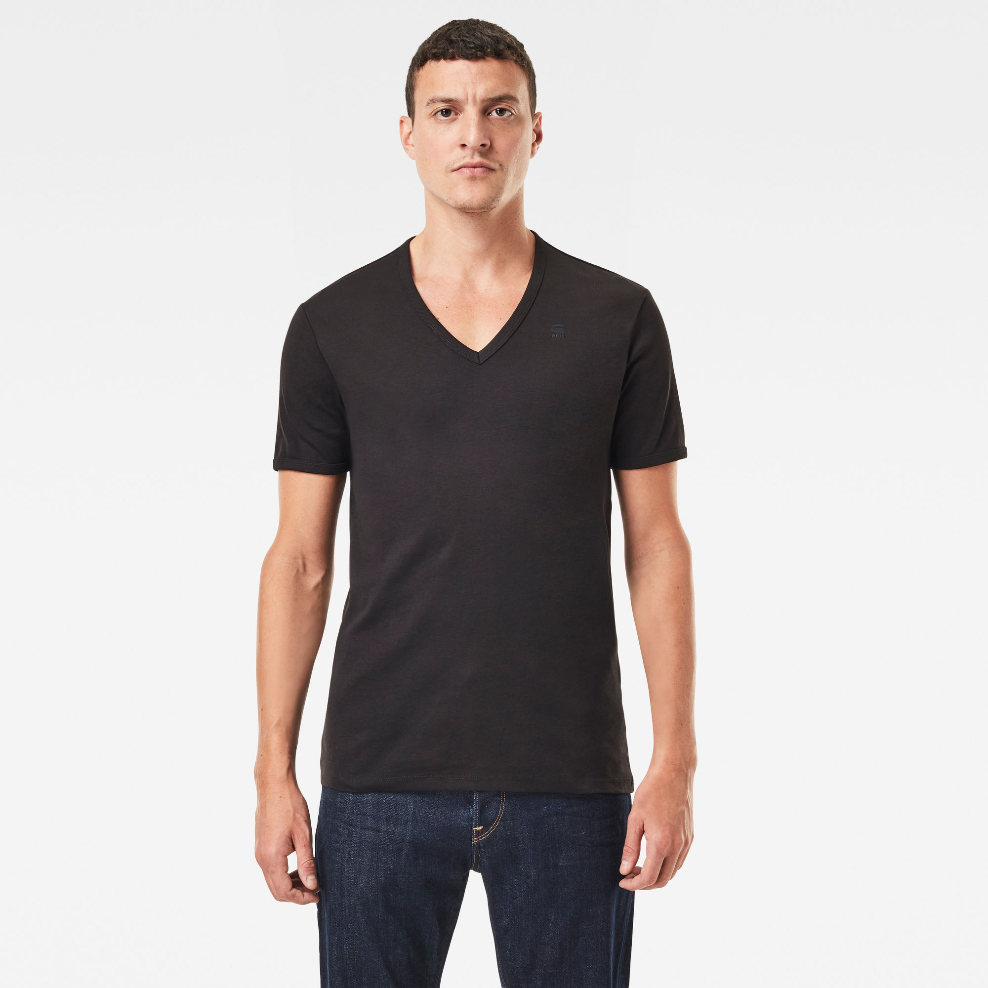 G-Star RAW Hombre Basic V-Neck T-Shirt 2-Pack Negro