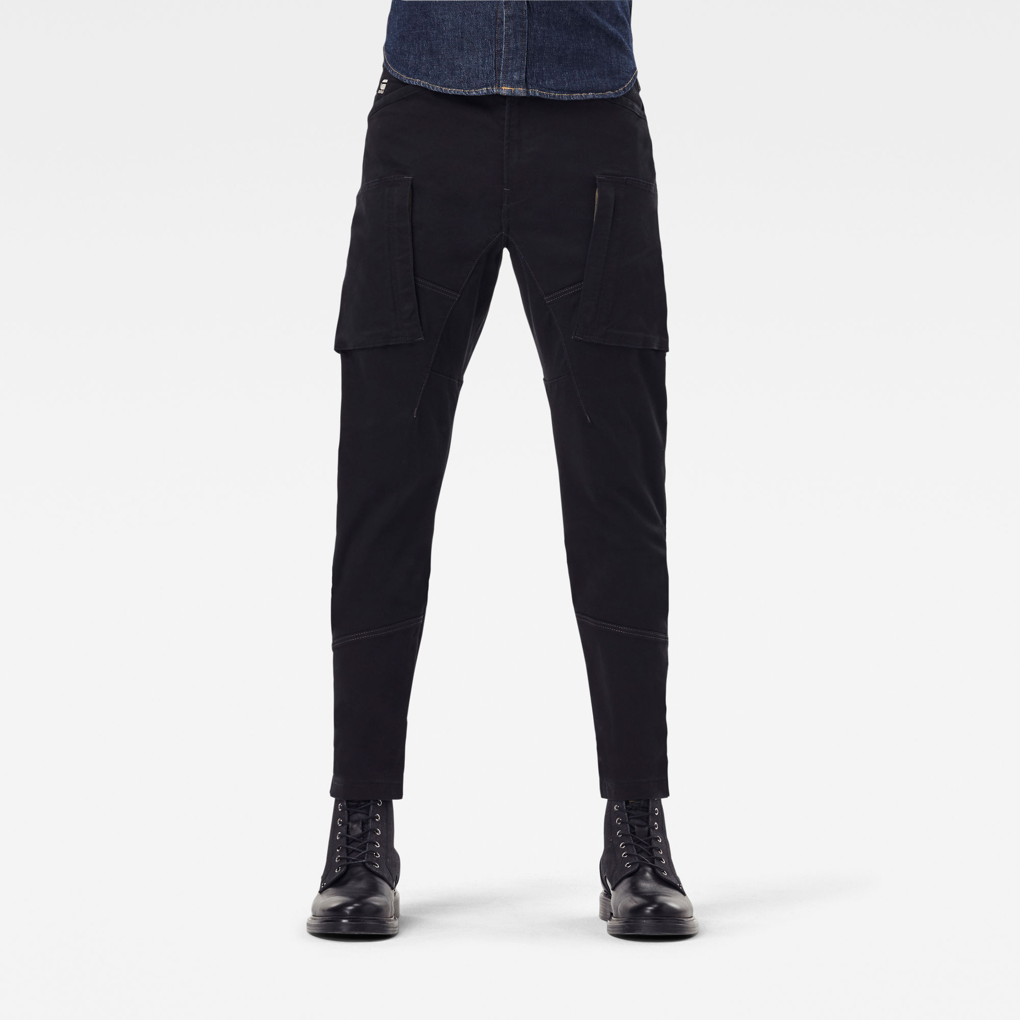 G-Star RAW Heren Zip Pocket 3D Skinny Cargo Broek Zwart