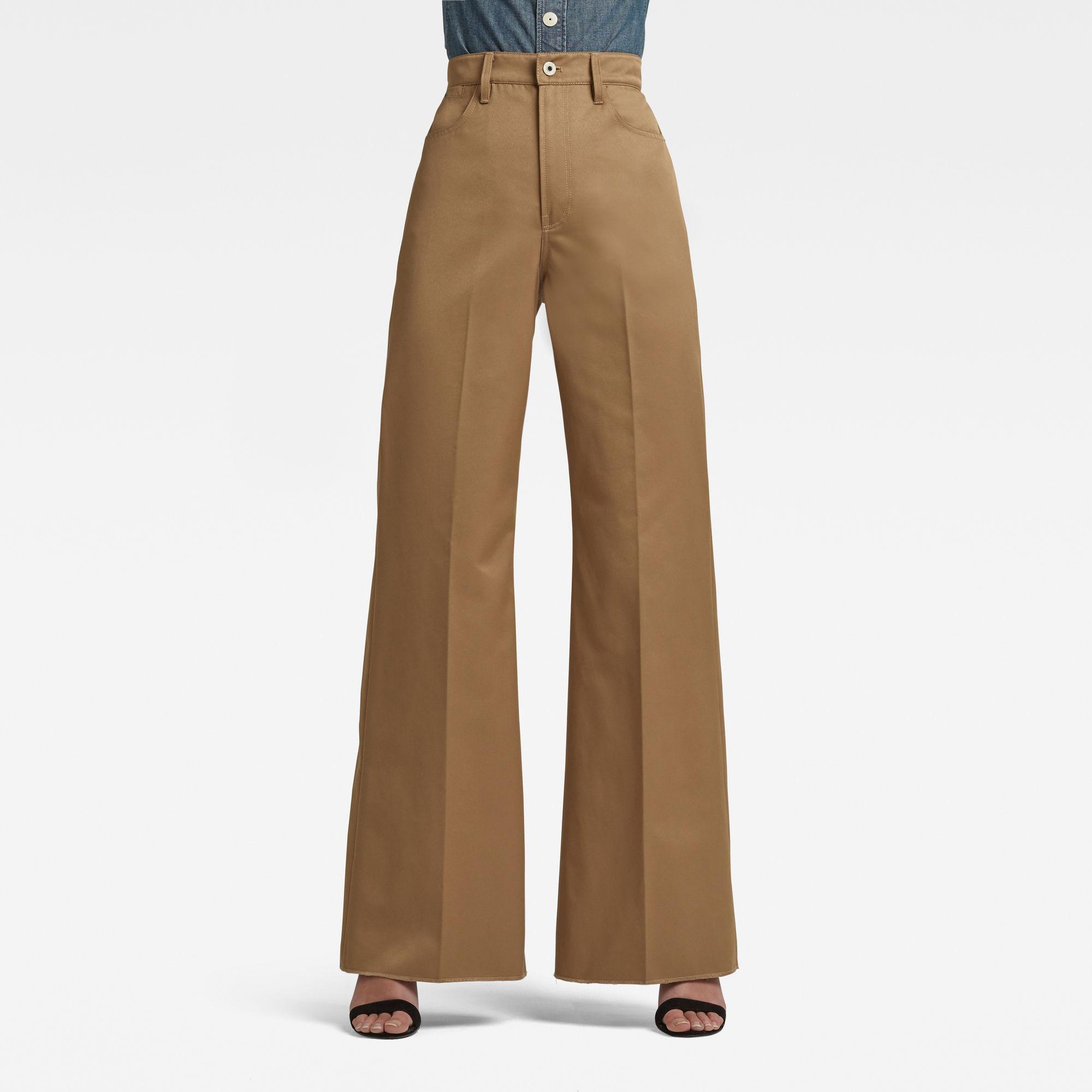 G-Star RAW Dames Deck Ultra High Wide Leg Pants Groen