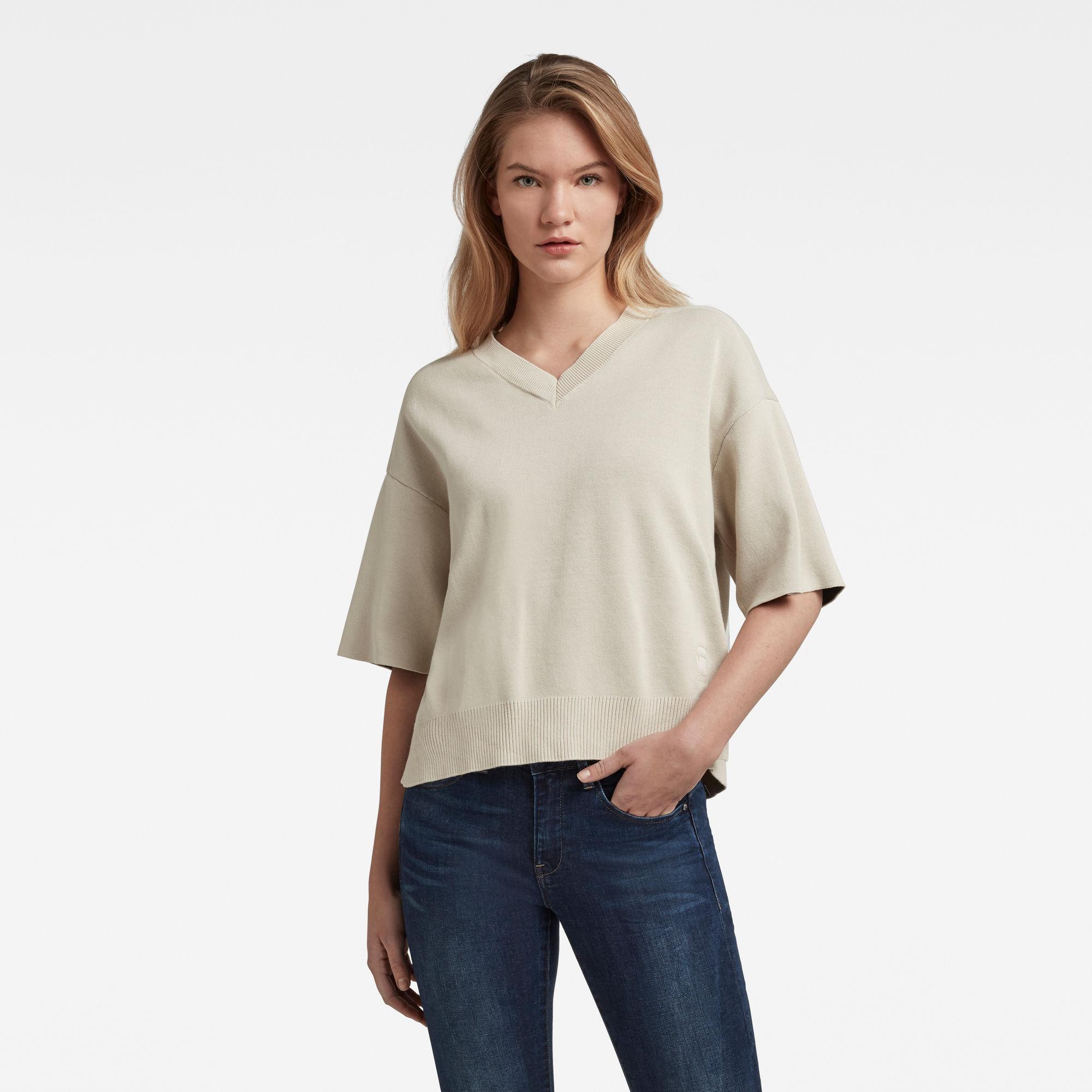 G-Star RAW Dames Gebreid T-Shirt Met V-Hals Beige