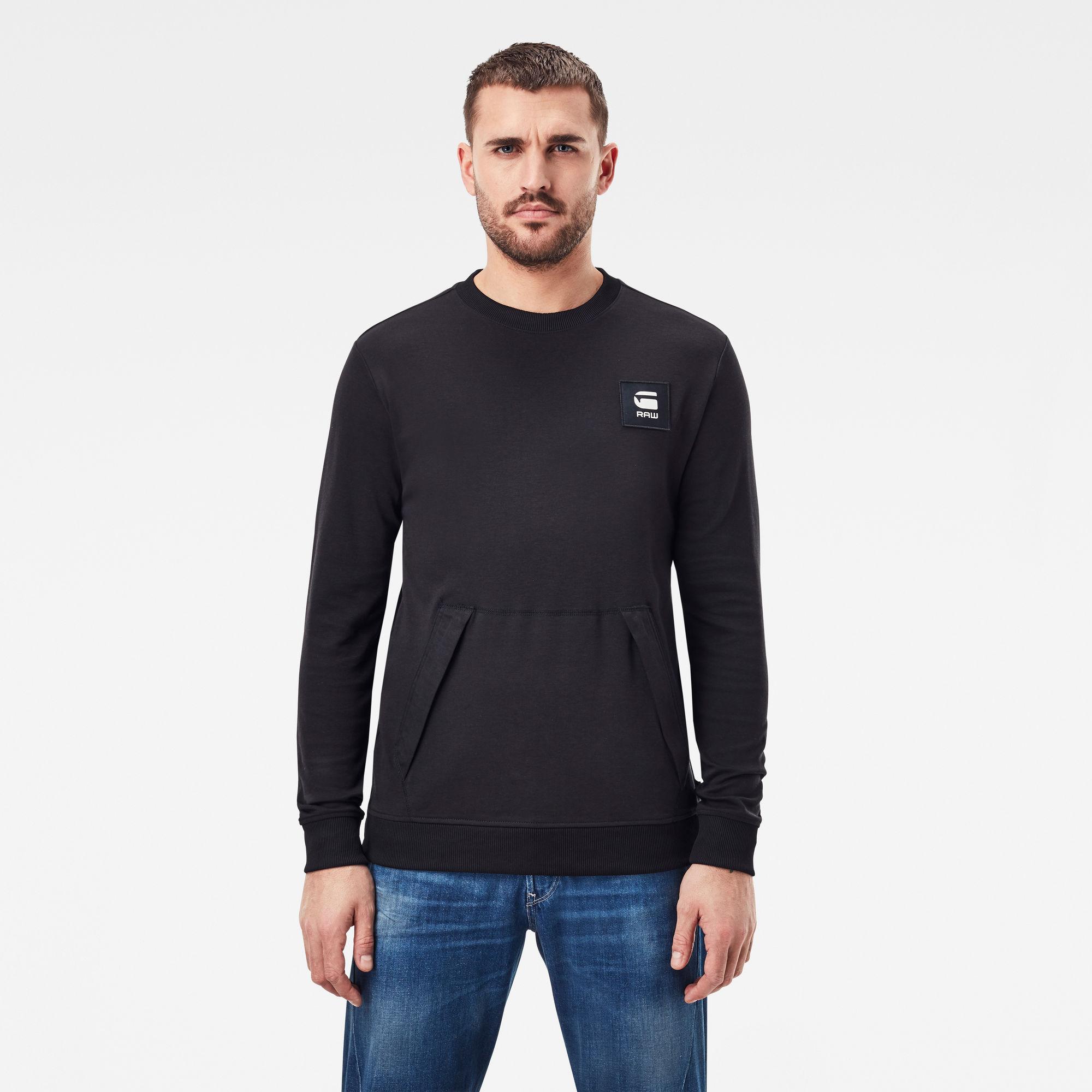 G-Star RAW Heren Box Logo Pocket Tweater Zwart