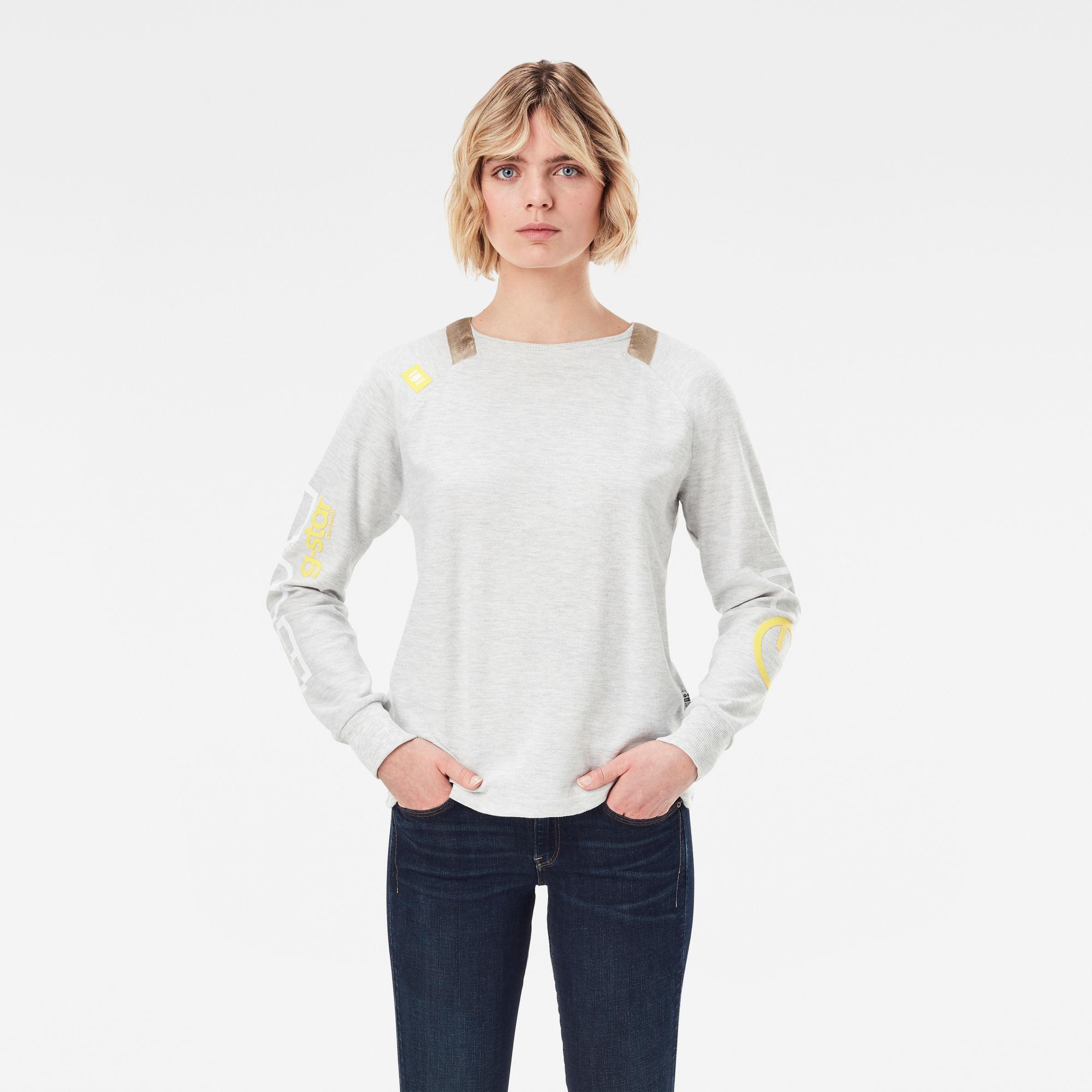 G-Star RAW Dames Sleeve Print Tweater Beige