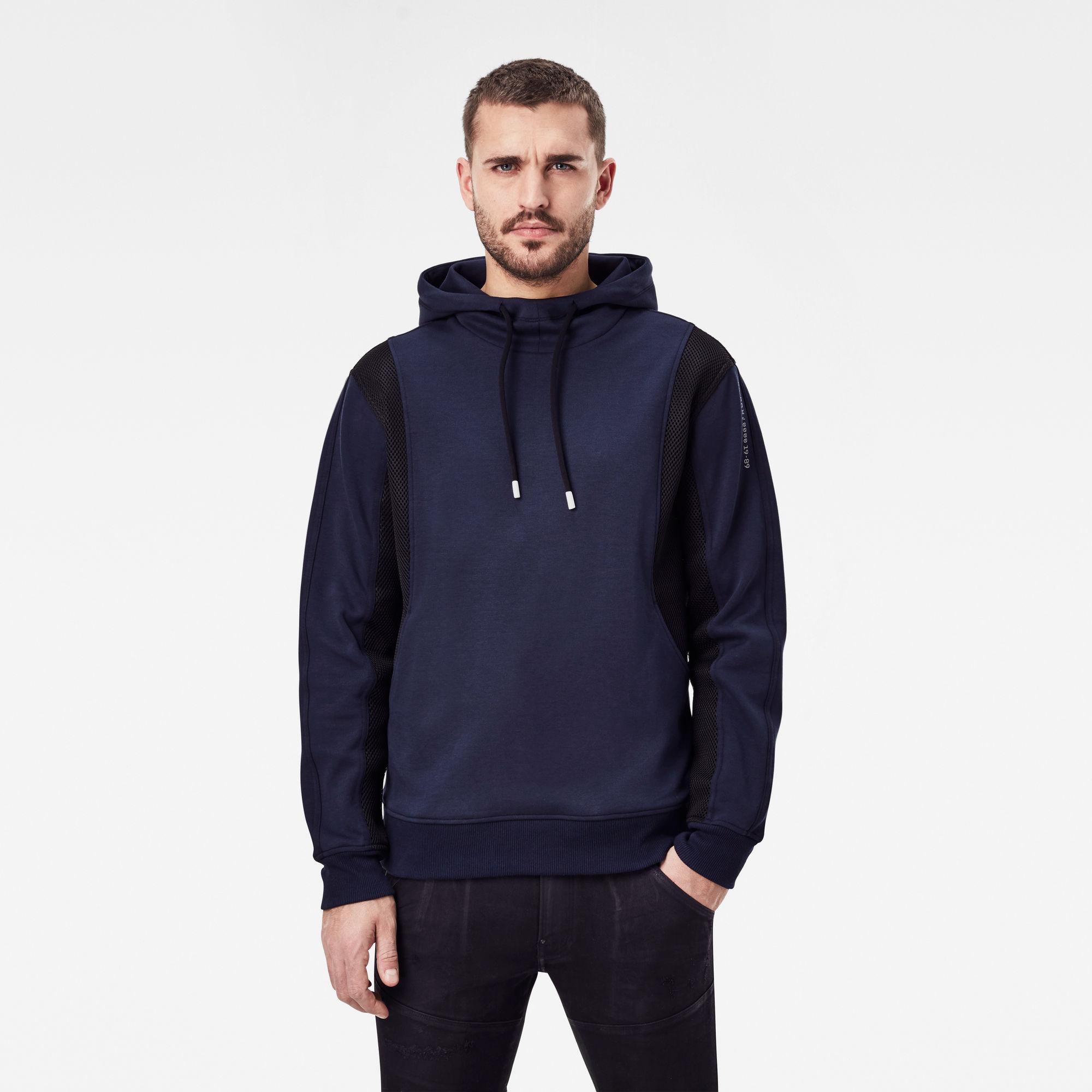 G-Star RAW Heren Moto Mesh Hooded Sweater Donkerblauw