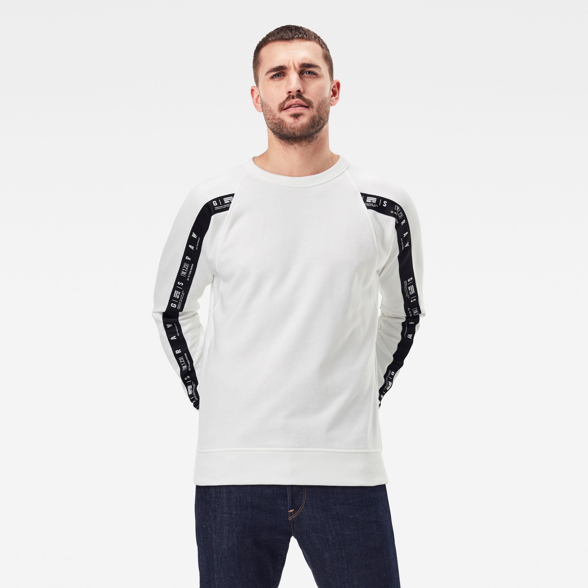 G-Star RAW Heren Raglan Taping Sweater Wit