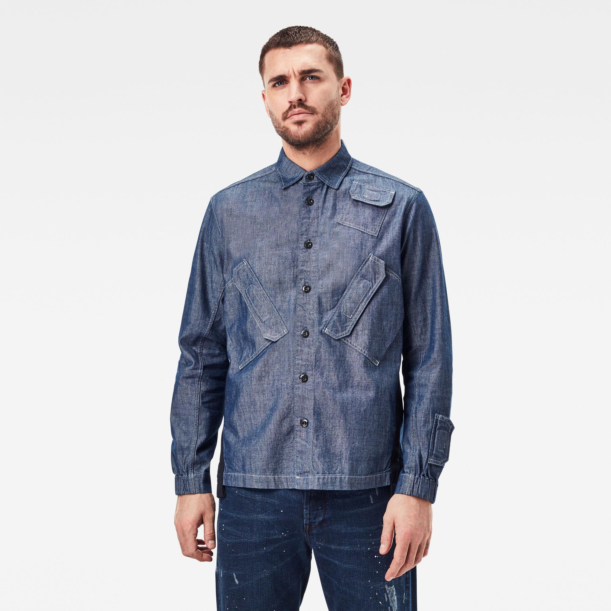 G-Star RAW Heren Multi Slant Pocket Relaxed Shirt Donkerblauw
