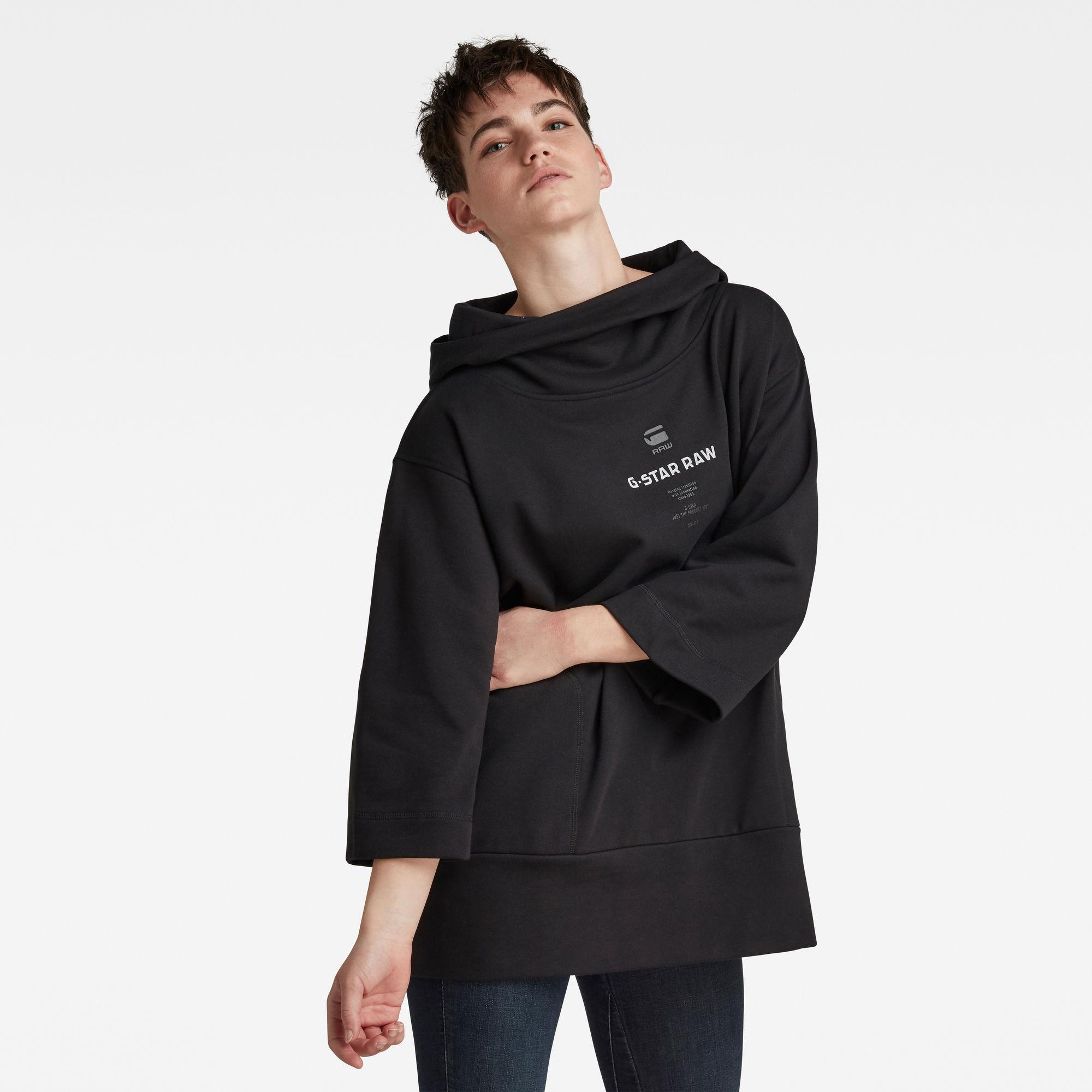 G-Star RAW Dames Oversized Hood Cover Sweater Zwart