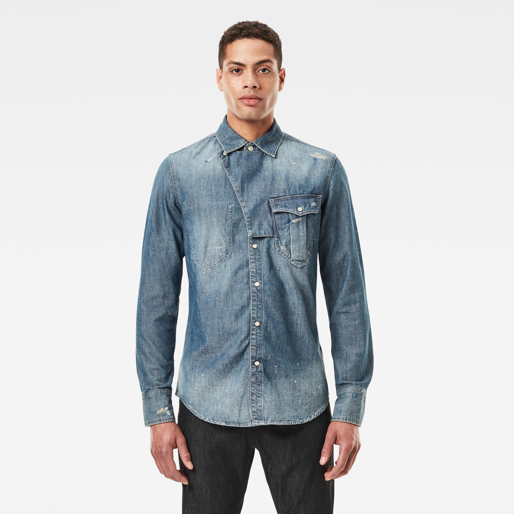 G-Star RAW Heren E Western Tab Slim Shirt Blauw