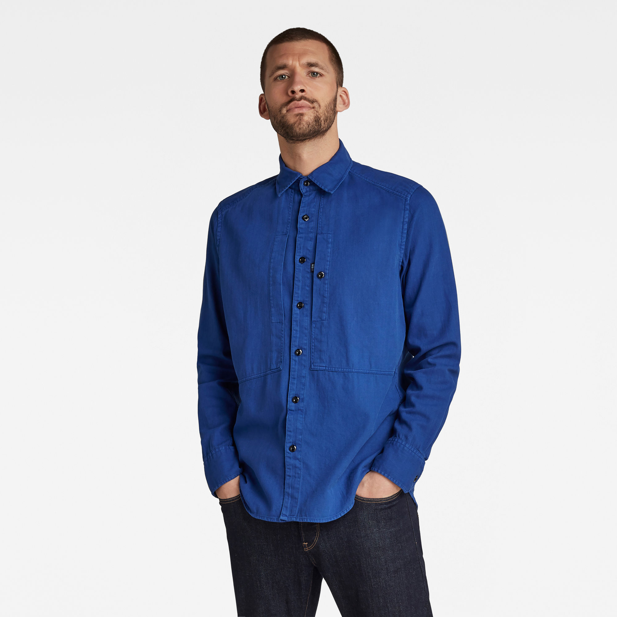 G-Star RAW Heren Panelled Pocket Slim Shirt Blauw