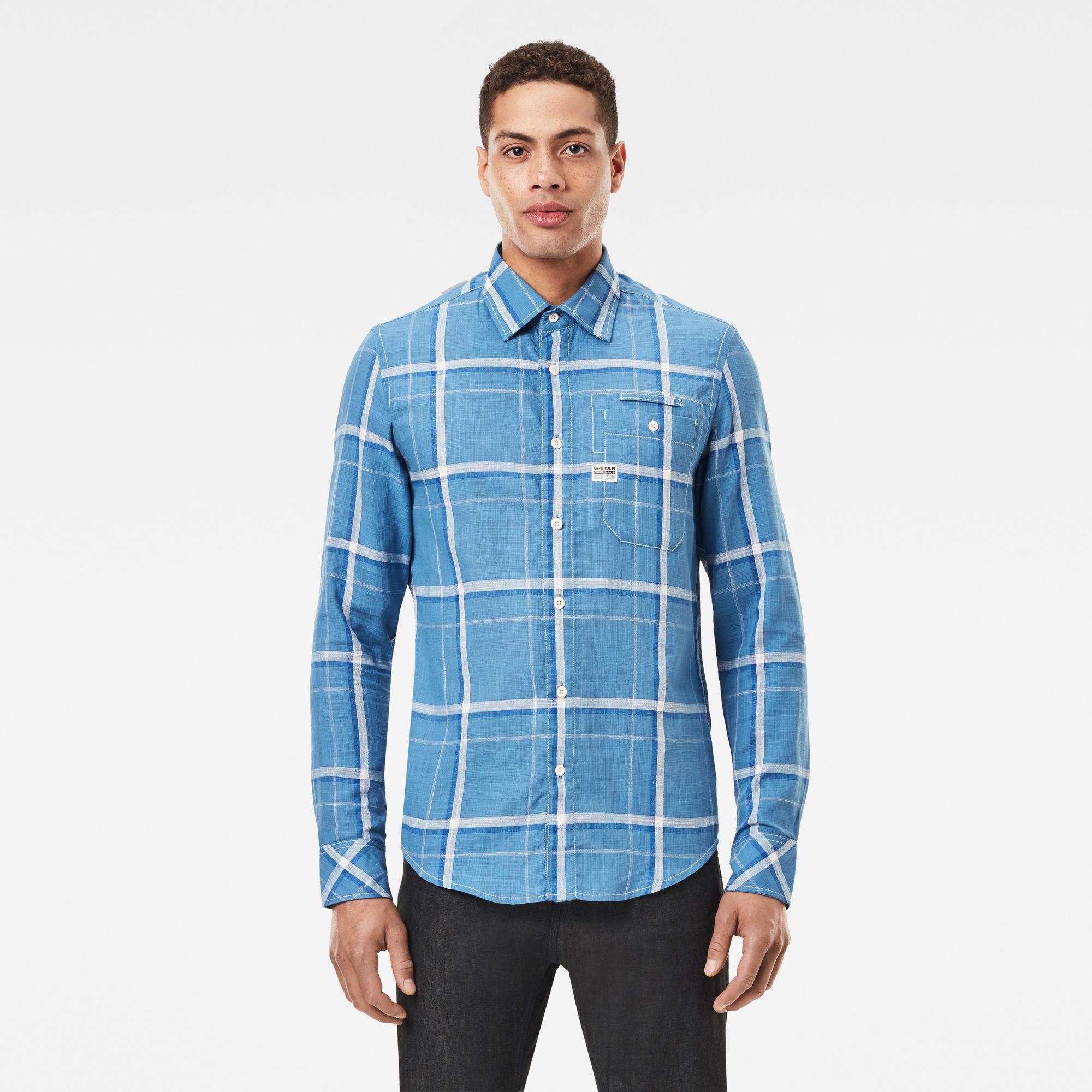 G-Star RAW Heren Bristum 1 Pocket Slim Shirt Lichtblauw