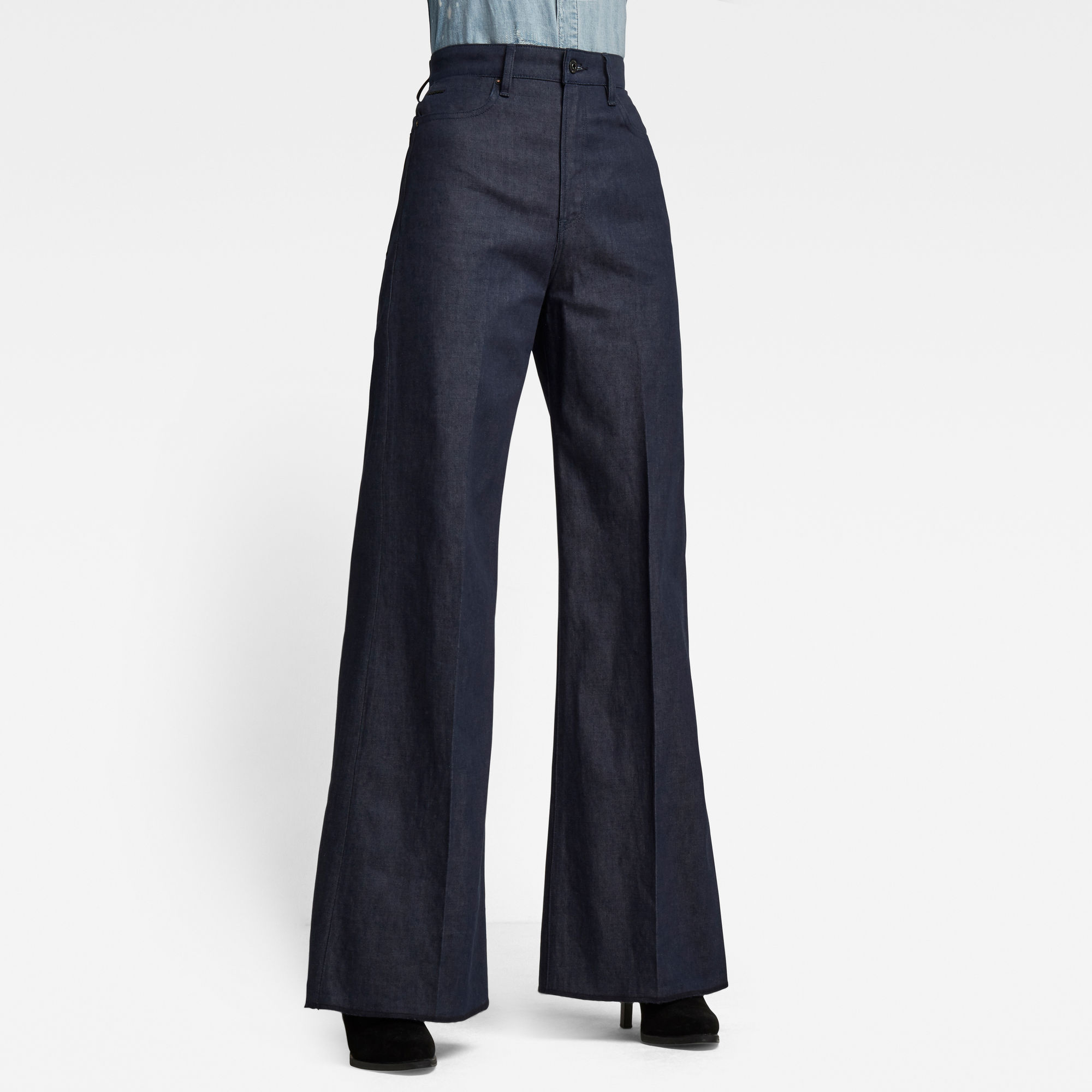 G-Star RAW Dames Deck Ultra High Wide Leg Jeans Donkerblauw