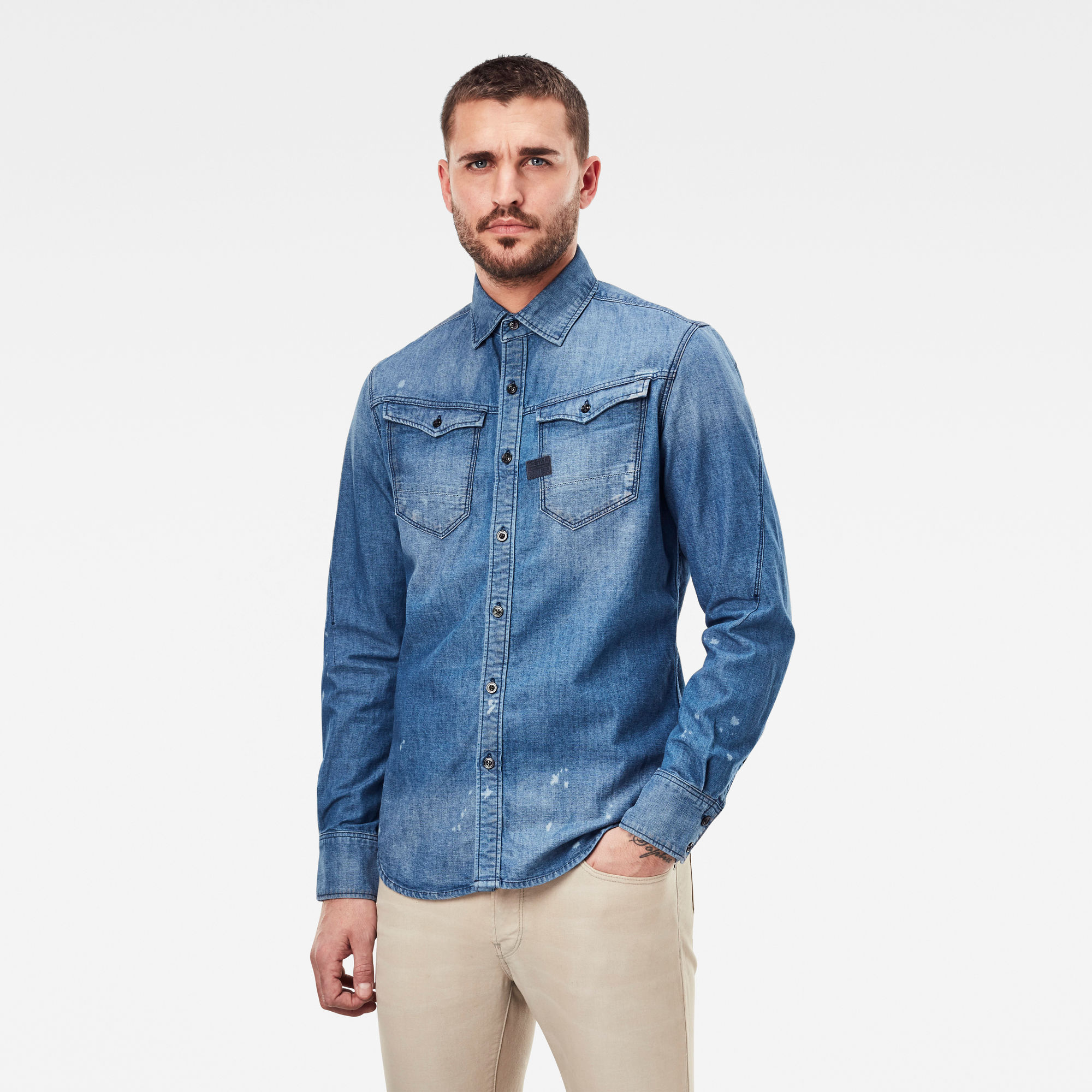 G-Star RAW Heren Arc 3D Slim Shirt Blauw