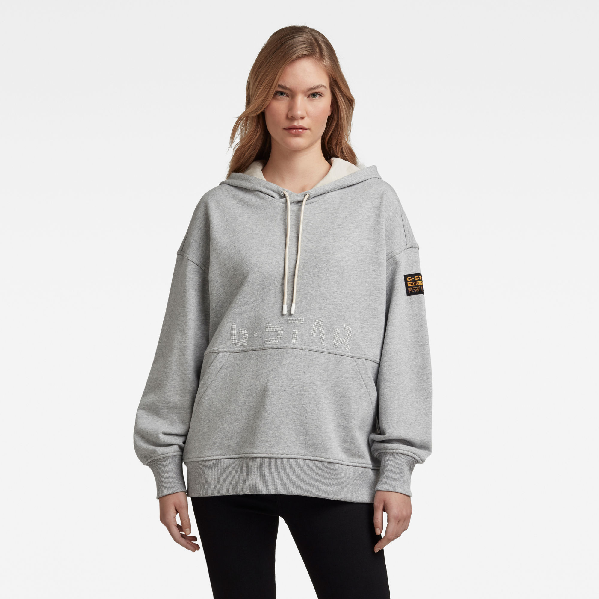 G-Star RAW Dames Loose Fit Faded Back Graphic Hoodie Grijs