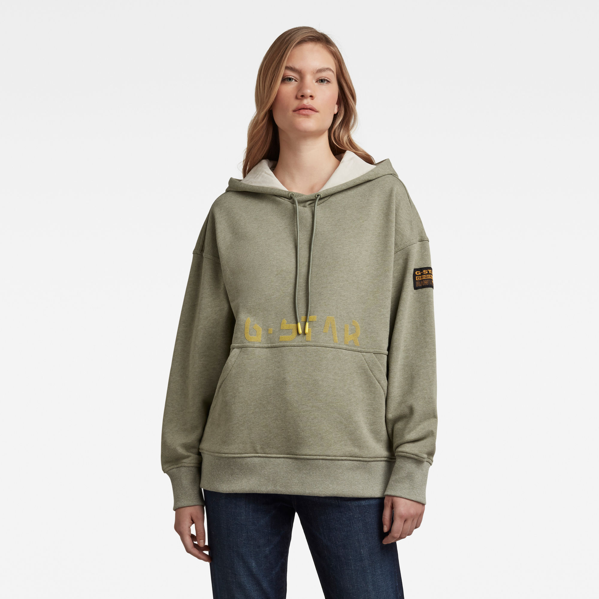 G-Star RAW Dames Loose Fit Faded Back Graphic Hoodie Groen