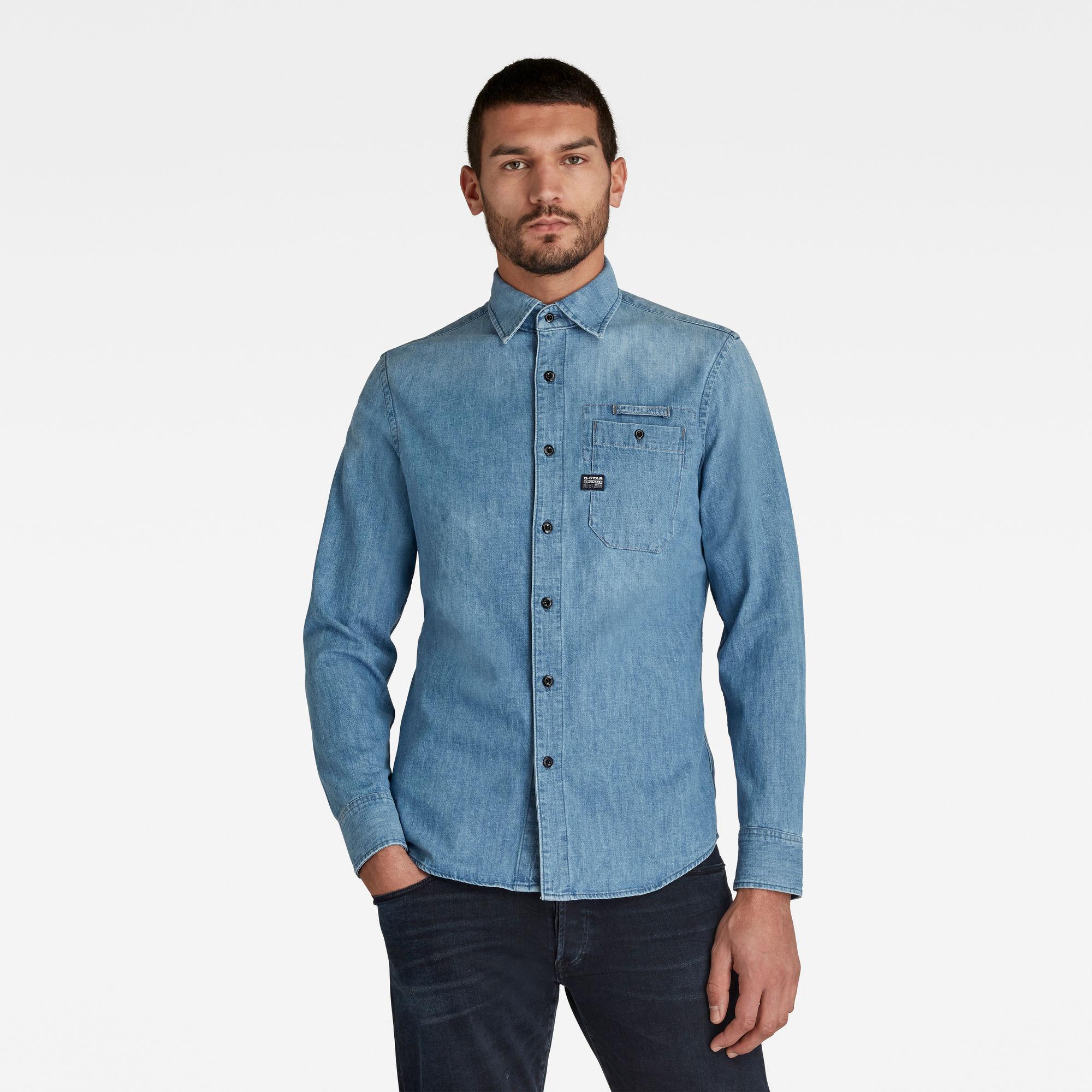 G-Star RAW Heren Bristum Slim Shirt Blauw
