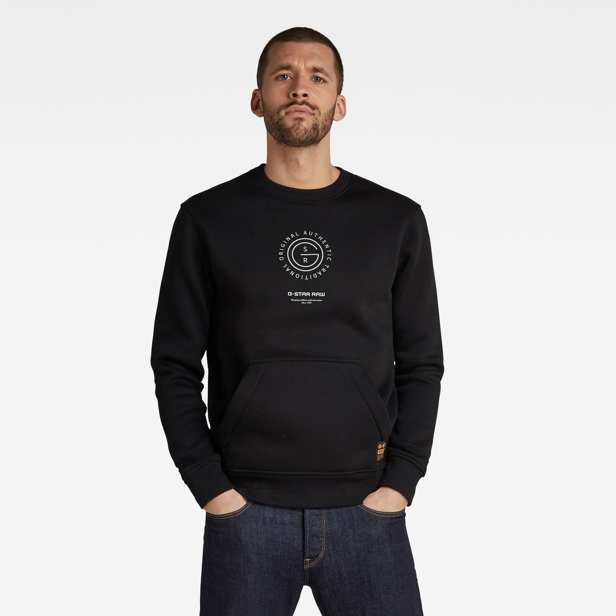 G-Star RAW Heren Multi Graphic Pocket Sweater Zwart