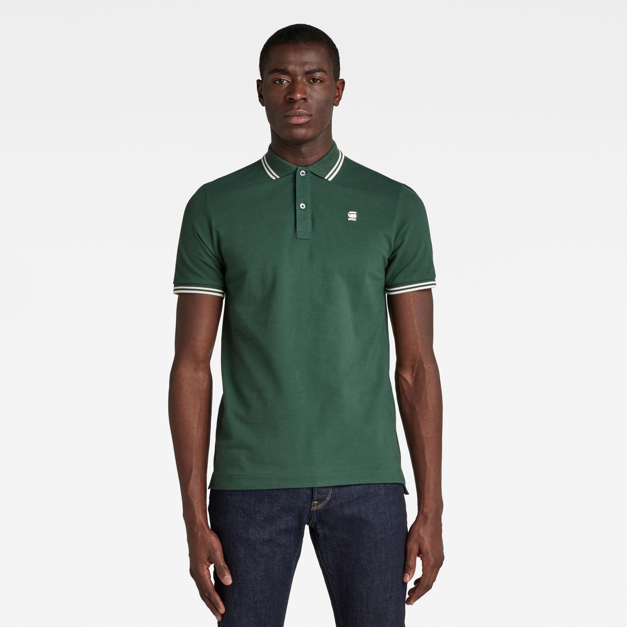 G-Star RAW Herren Dunda Slim Stripe Poloshirt Grün
