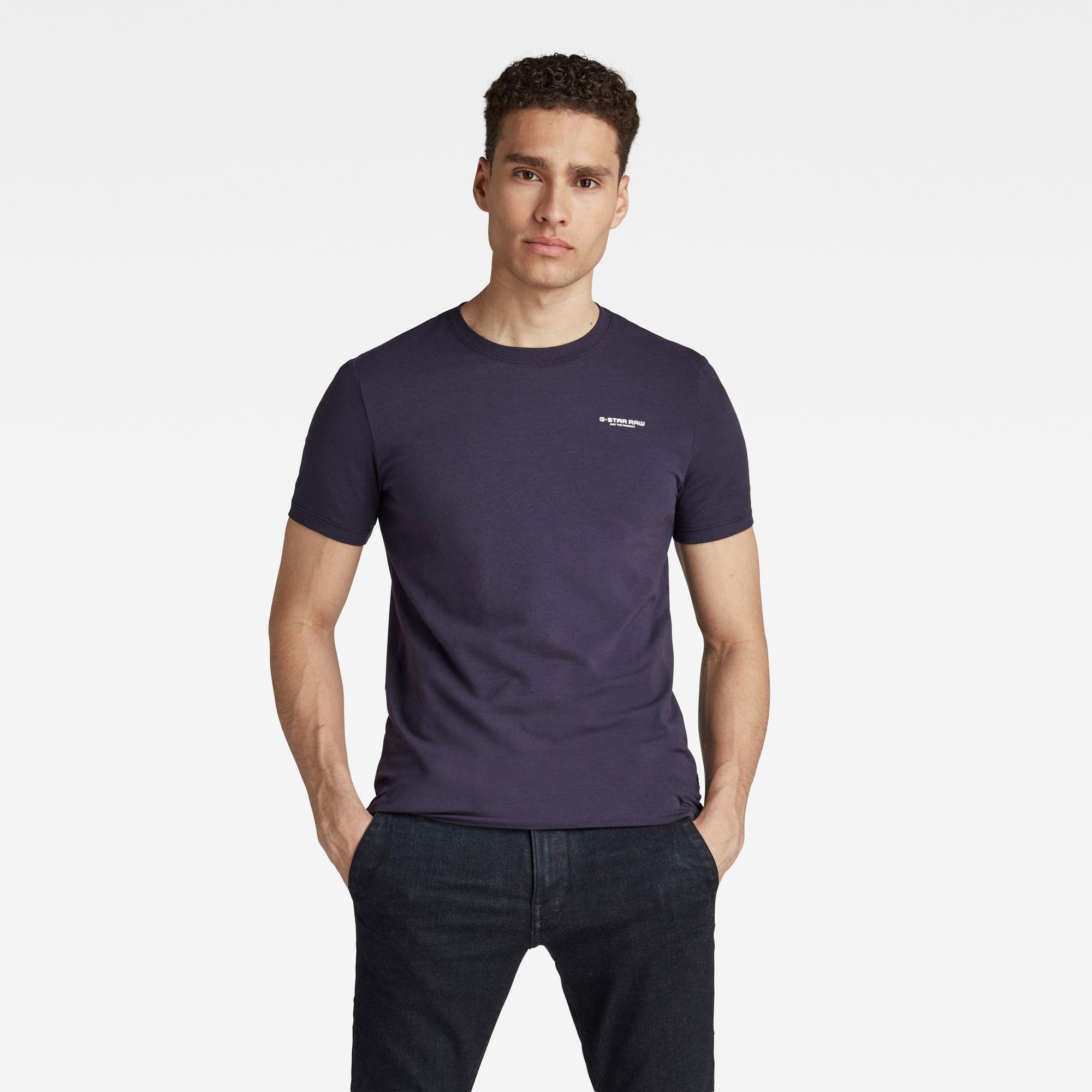G-Star RAW Hombre Camiseta Slim Base Azul oscuro