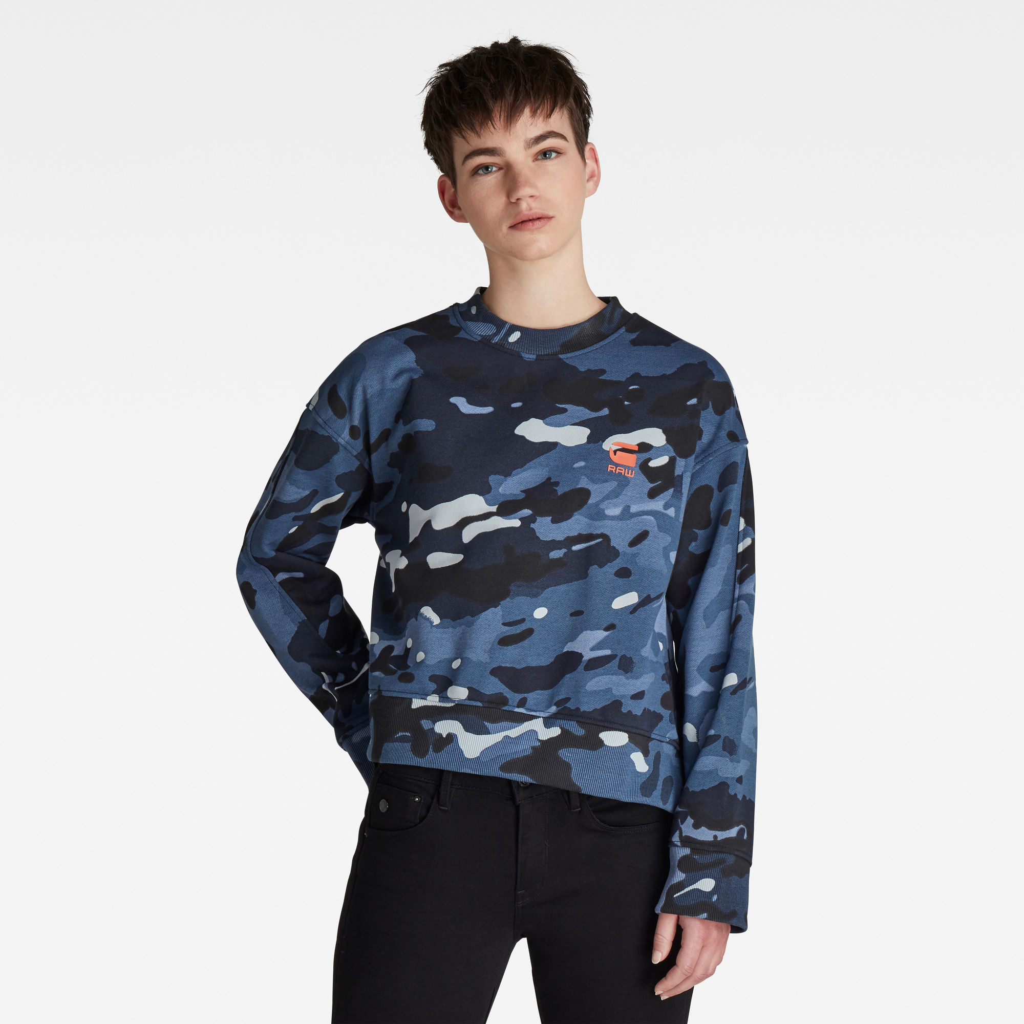 G-Star RAW Dames Loose Fit Camo All over Sweater Blauw
