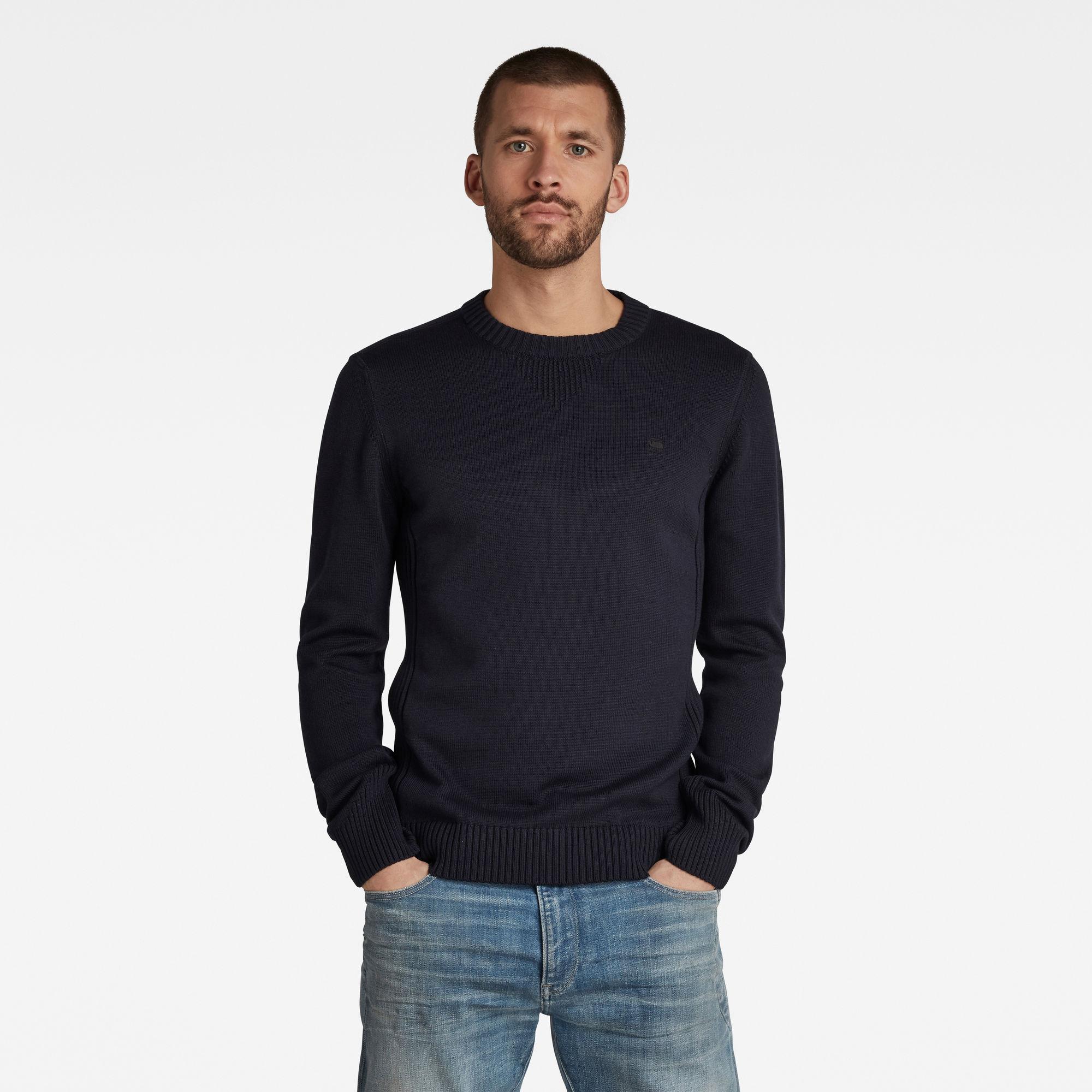 G-Star RAW Heren Classic Sport Knitted Sweater Donkerblauw