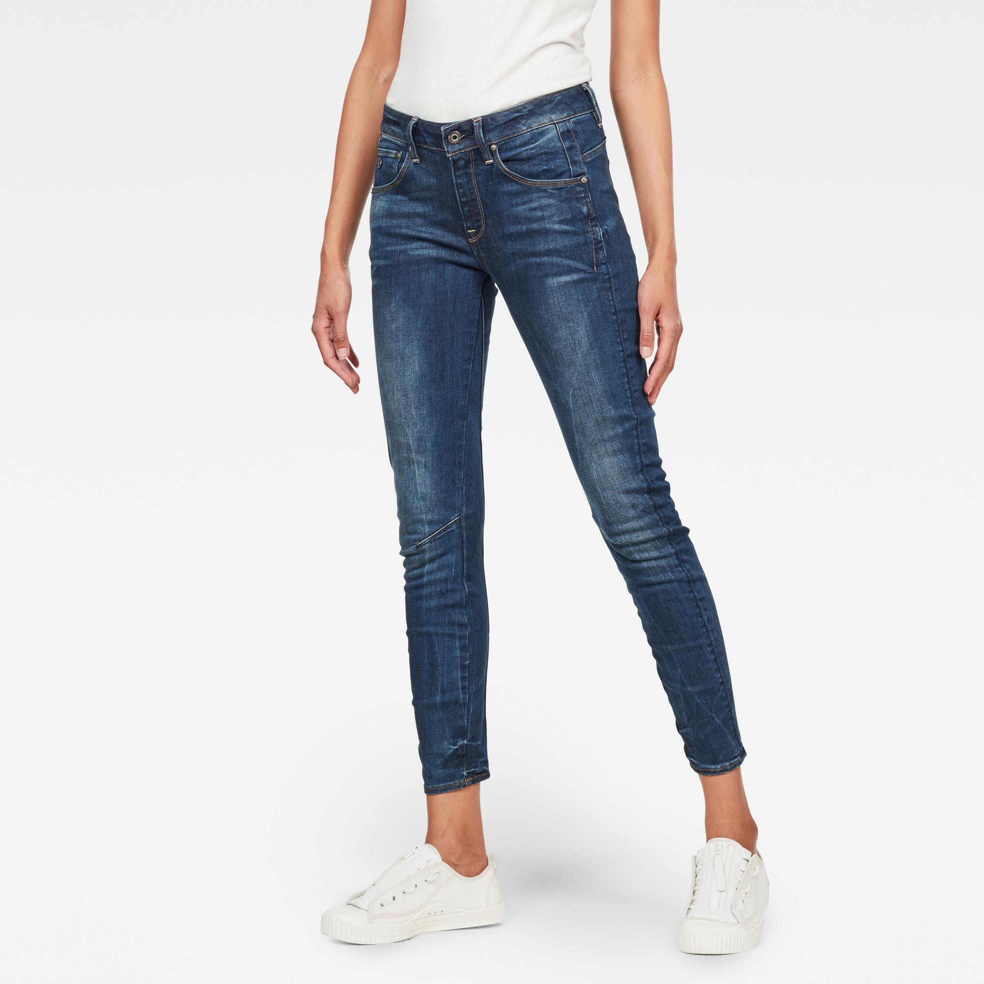 G-Star RAW Dames Arc 3D Mid Skinny Jeans Donkerblauw