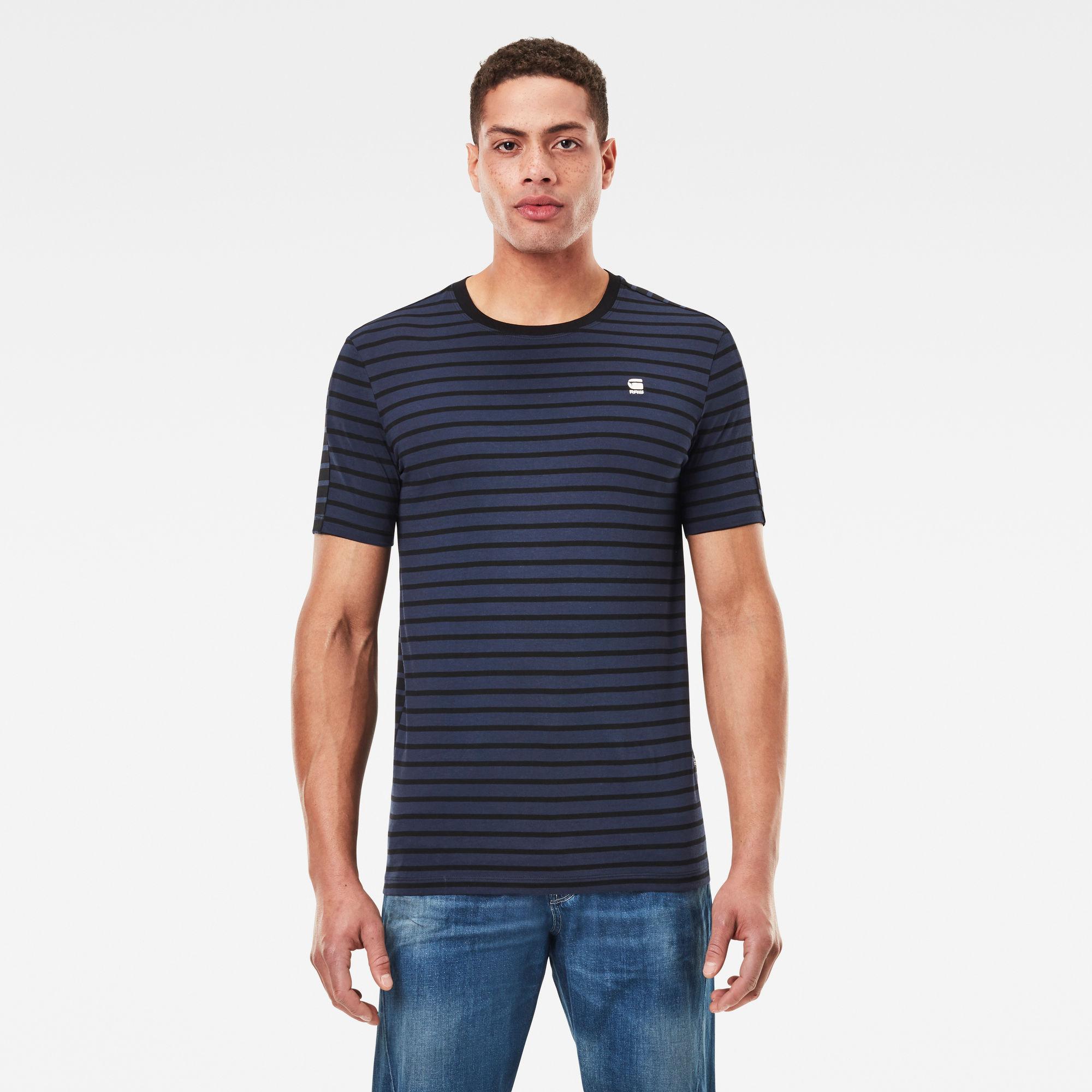 G-Star RAW Heren Korpaz Stripe Graphic Slim T-Shirt Donkerblauw