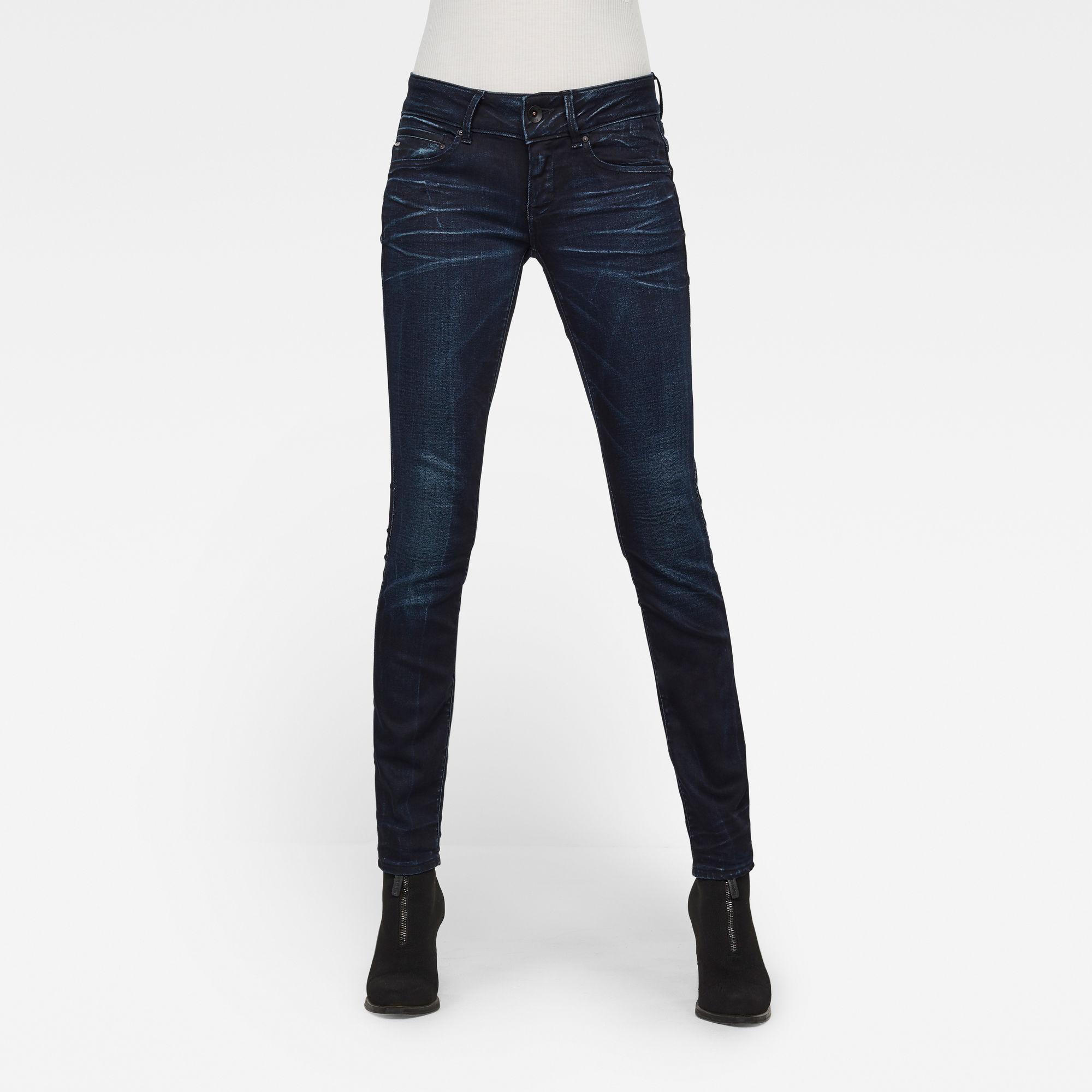 G-Star RAW Dames Midge Cody Mid Waist Skinny Jeans Donkerblauw