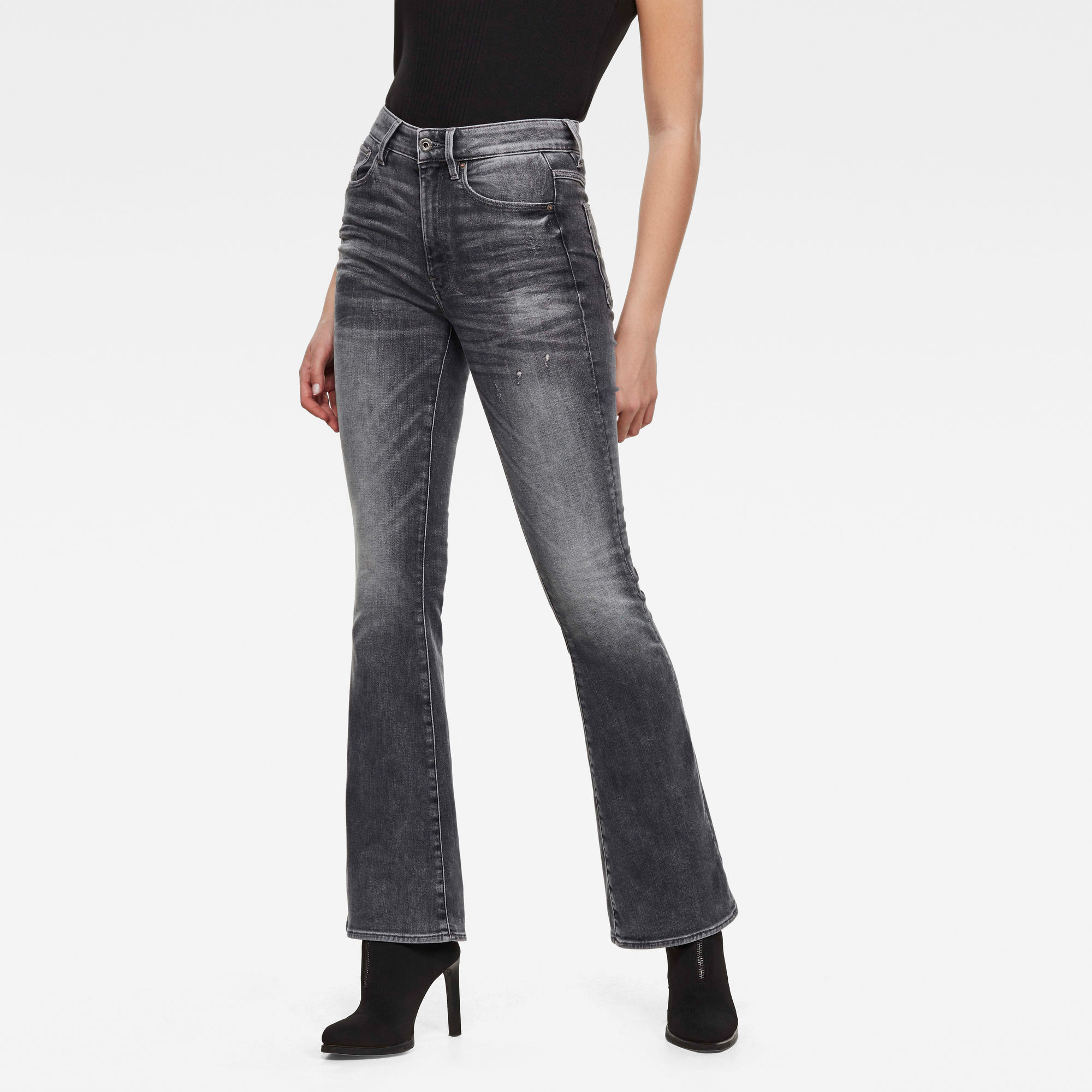 G-Star RAW Dames 3301 High Flare Jeans Zwart