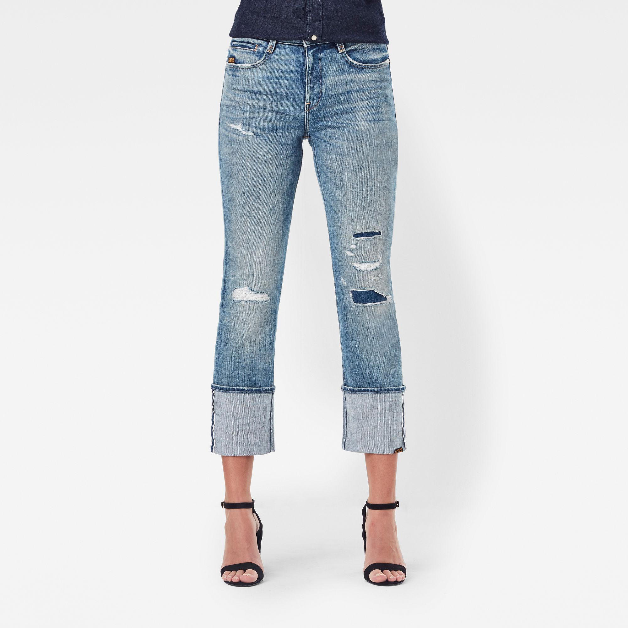 G-Star RAW Dames Noxer Straight Selvedge Jeans Lichtblauw