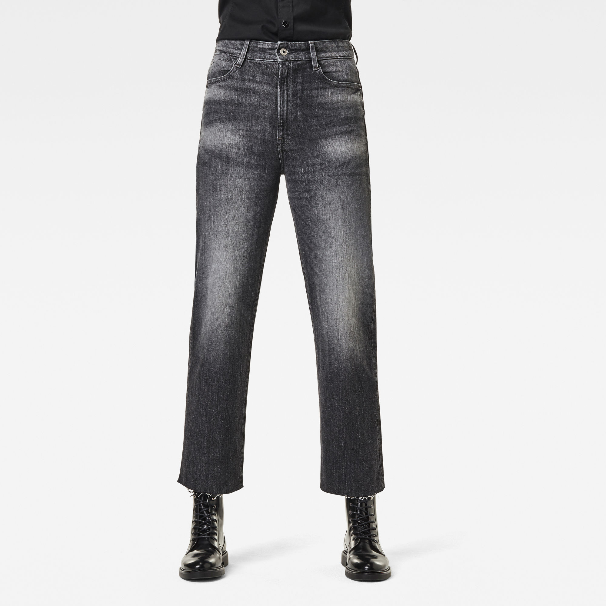 G-Star RAW Dames Tedie Ultra High Straight Raw Edge Ankle Jeans Zwart