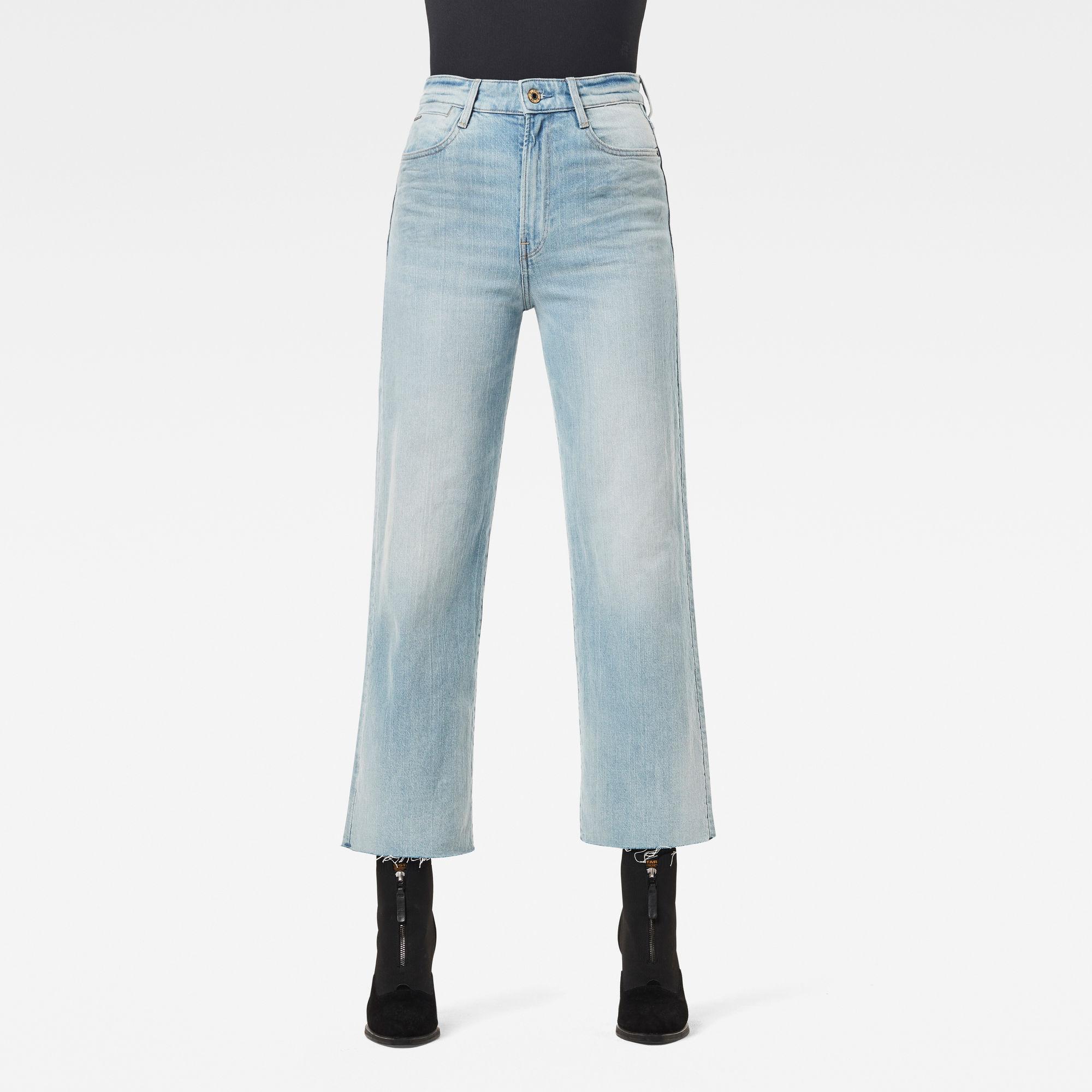 G-Star RAW Dames Tedie Ultra High Straight Raw Edge Ankle Jeans Lichtblauw