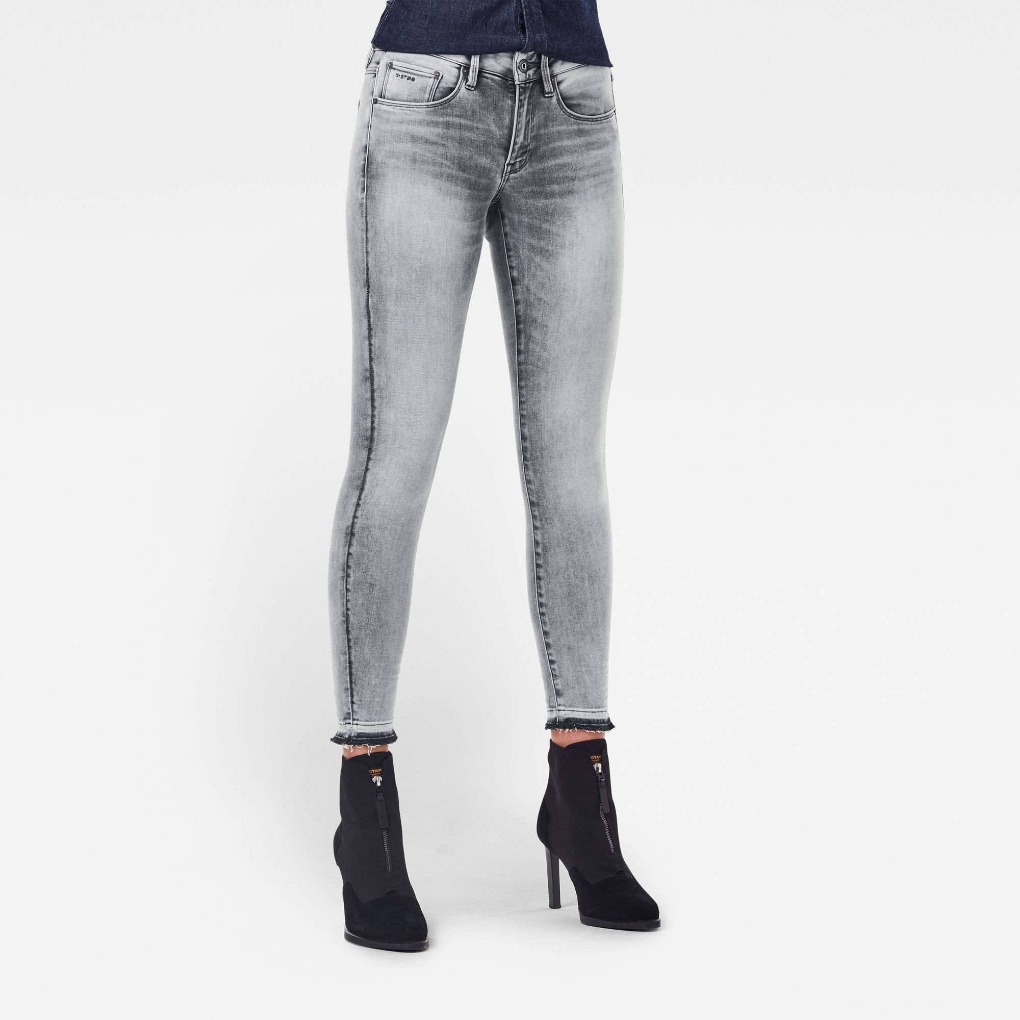 3301 Mid Skinny Ripped Edge Ankle Jeans Grijs
