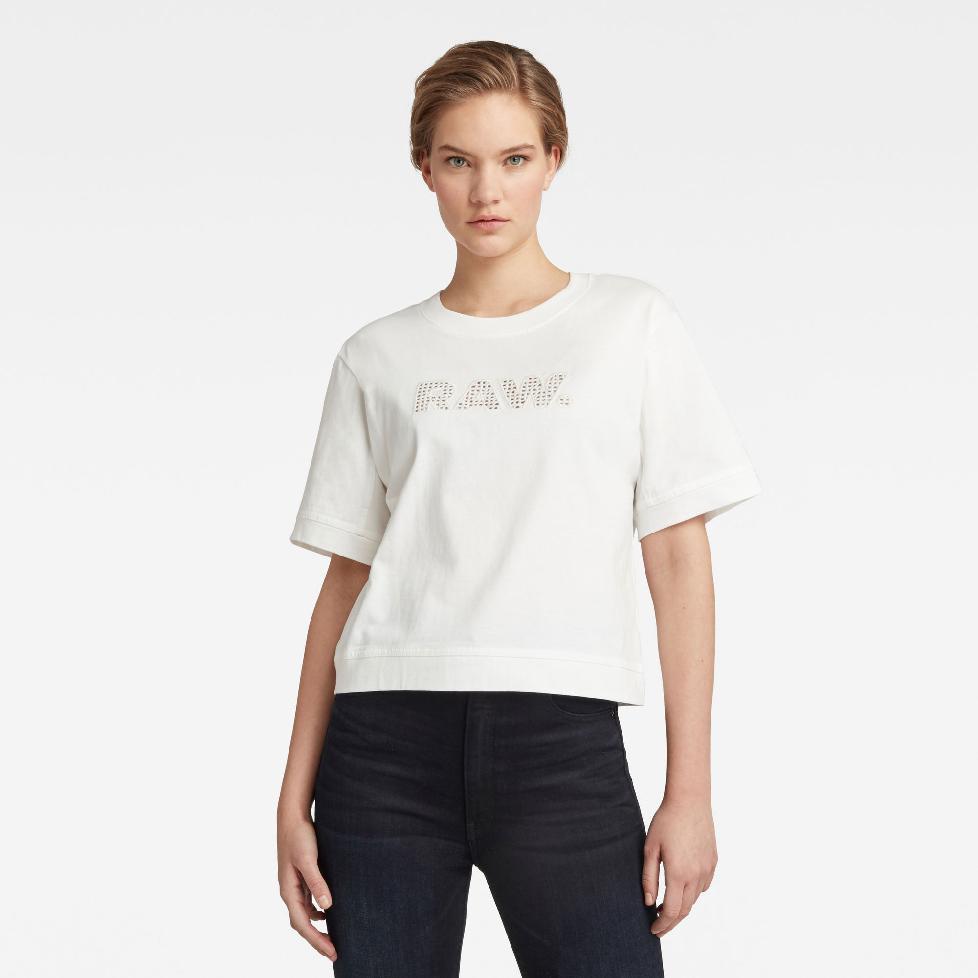 G-Star RAW Dames Boxy Fit RAW Embroidery Tee Wit